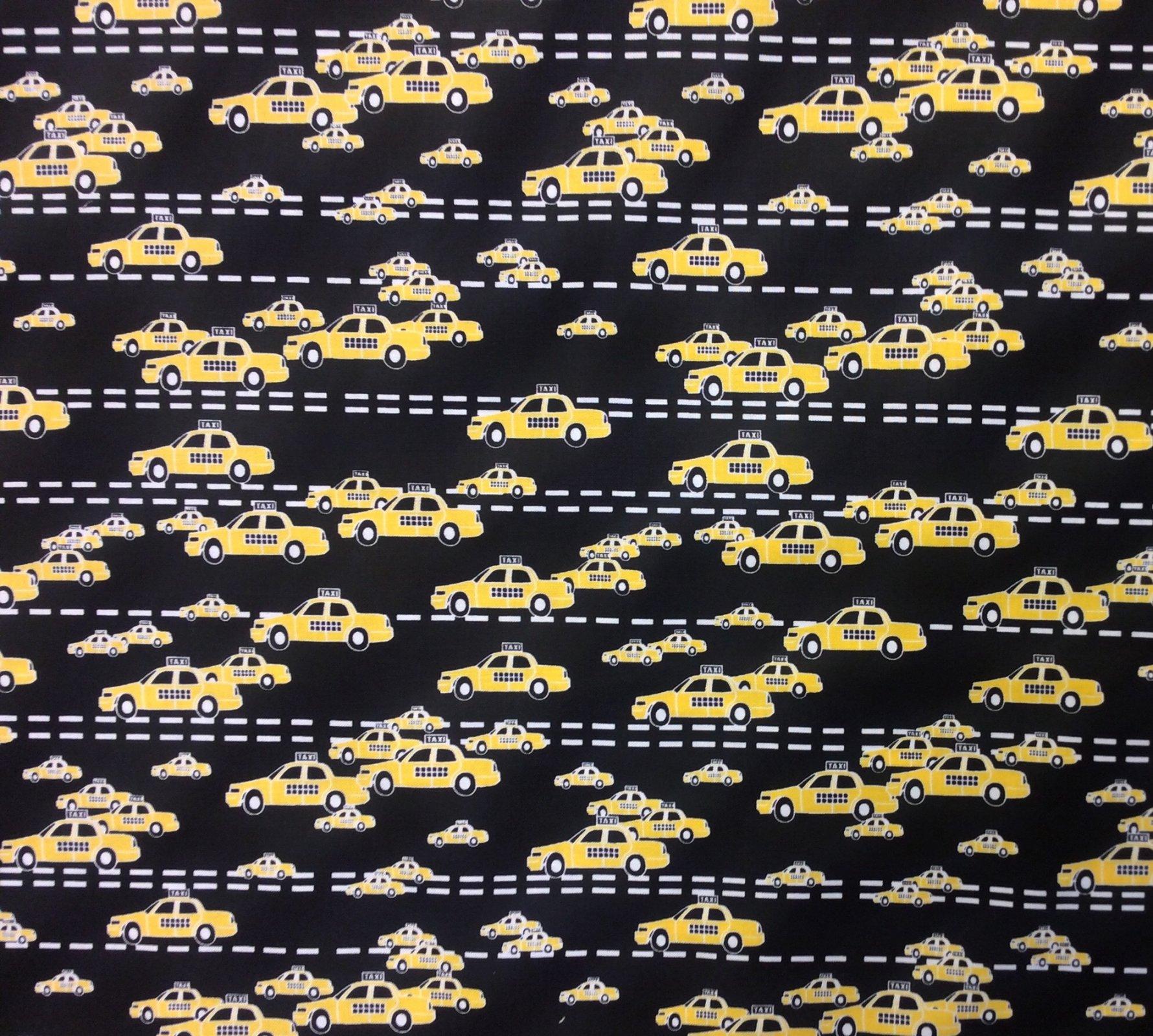 Taxi Cab City Car Service Yellow Cab New York City  Cotton Quilt Fabric TT08