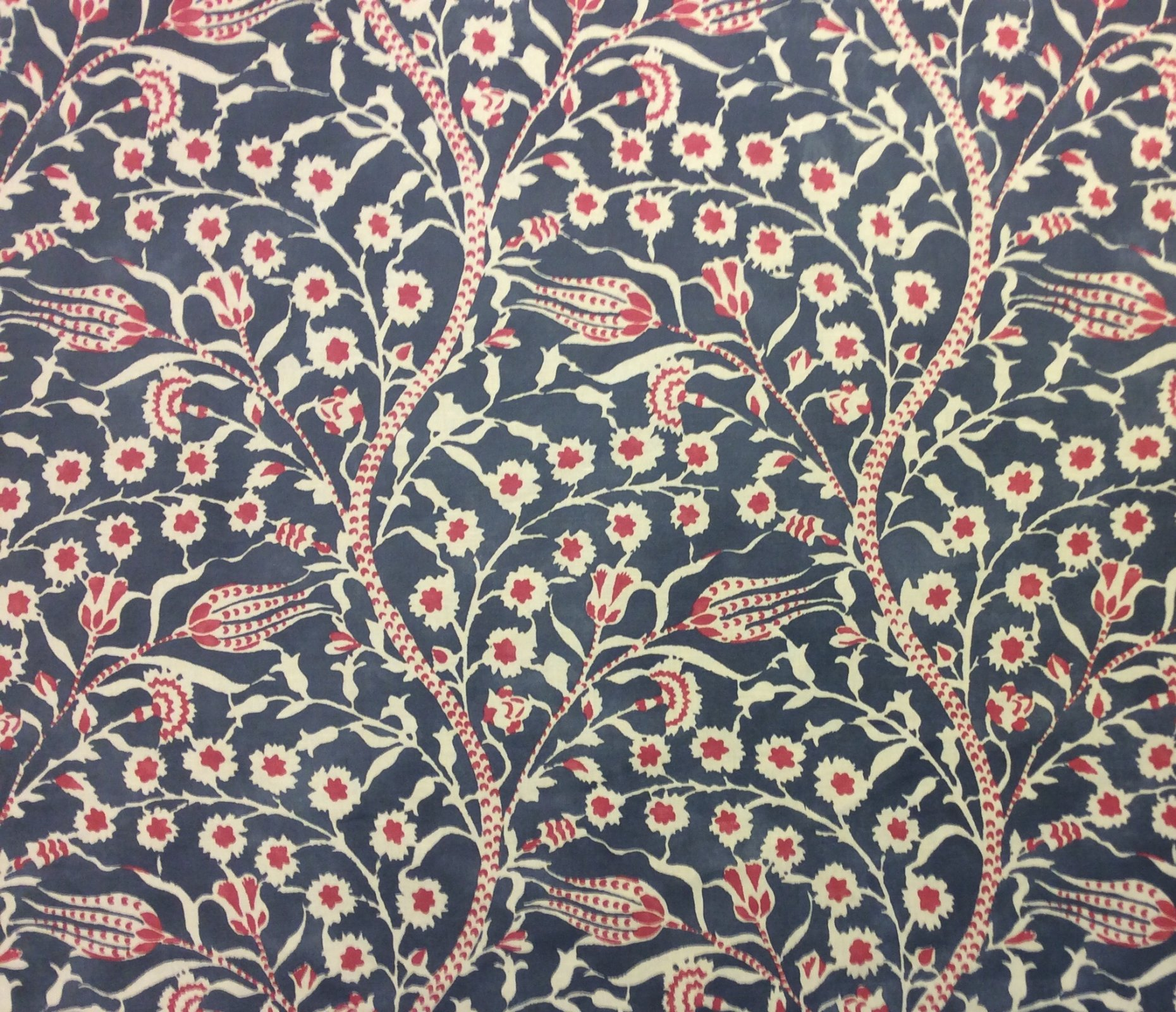 Cannanore Navy Red Clarence House Made in France Linen Cotton Hand Print Mid Weight Home Decor Upholstery Fabric CLA1001