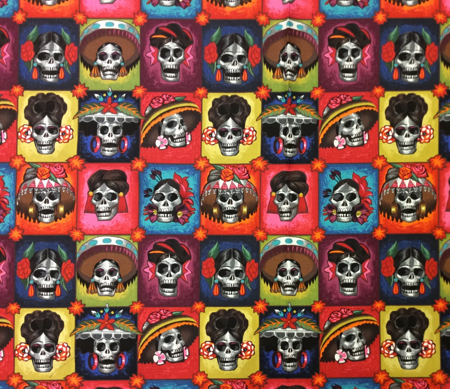 La Senoras Elegantes Dia De Los Muertos Alexander Henry Day of the Dead Cotton Quilt  Fabric AH309
