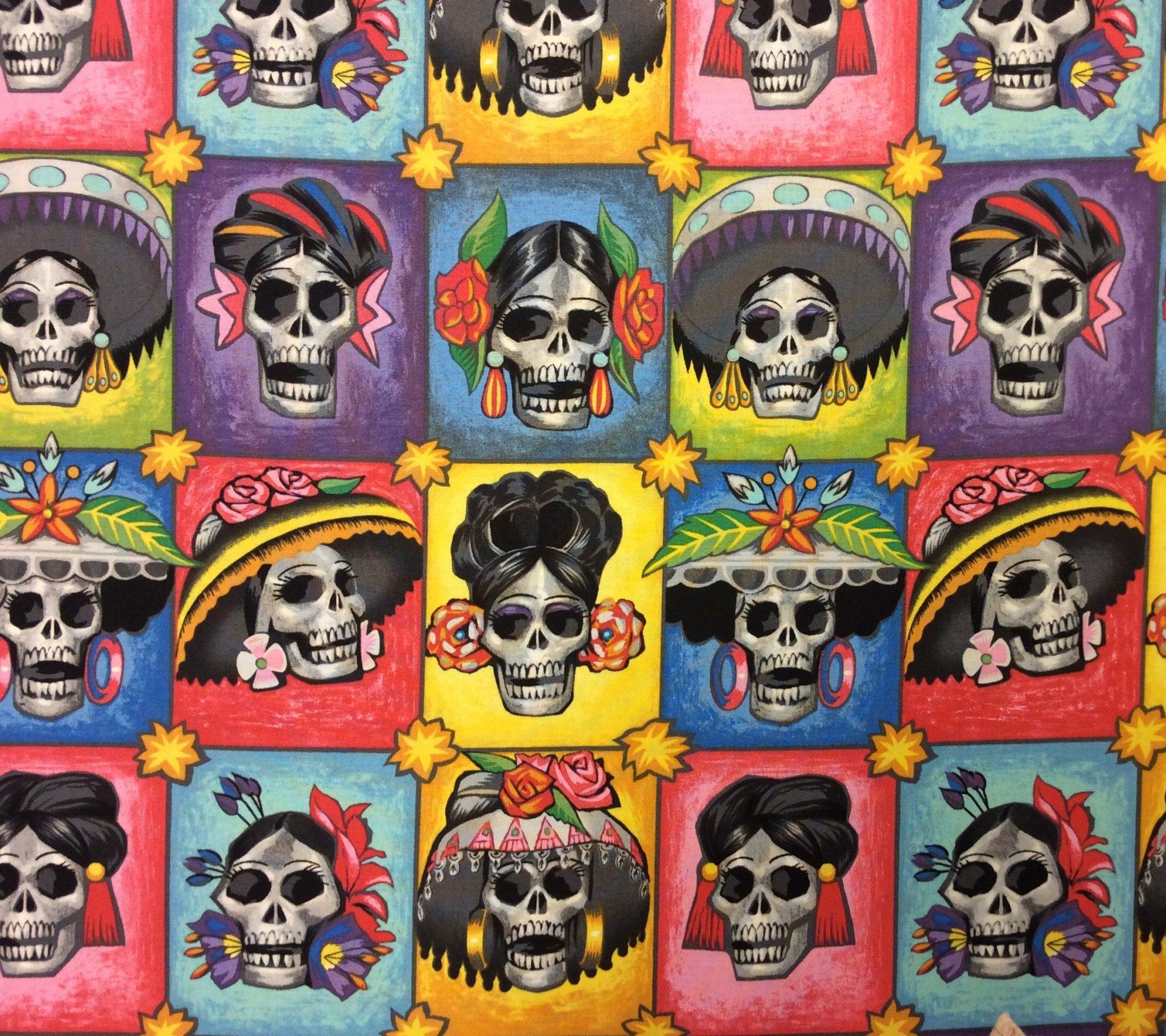 La Senoras Elegantes Dia De Los Muertos Alexander Henry Day of the Dead Cotton Quilting  Fabric AH311