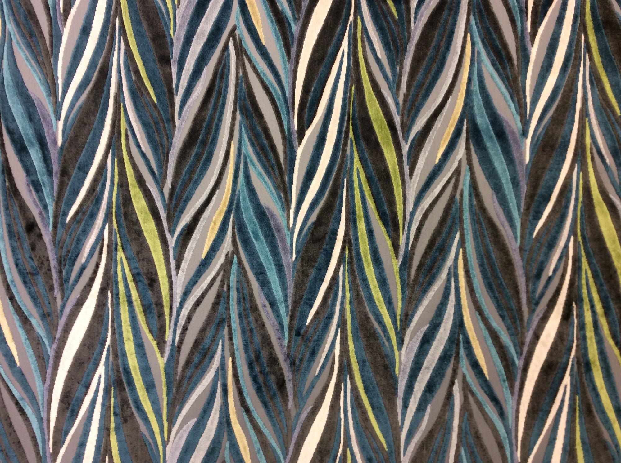 Cut Velvet Aqua Indigo Wave Heavy Upholstery Fabric KGKA01