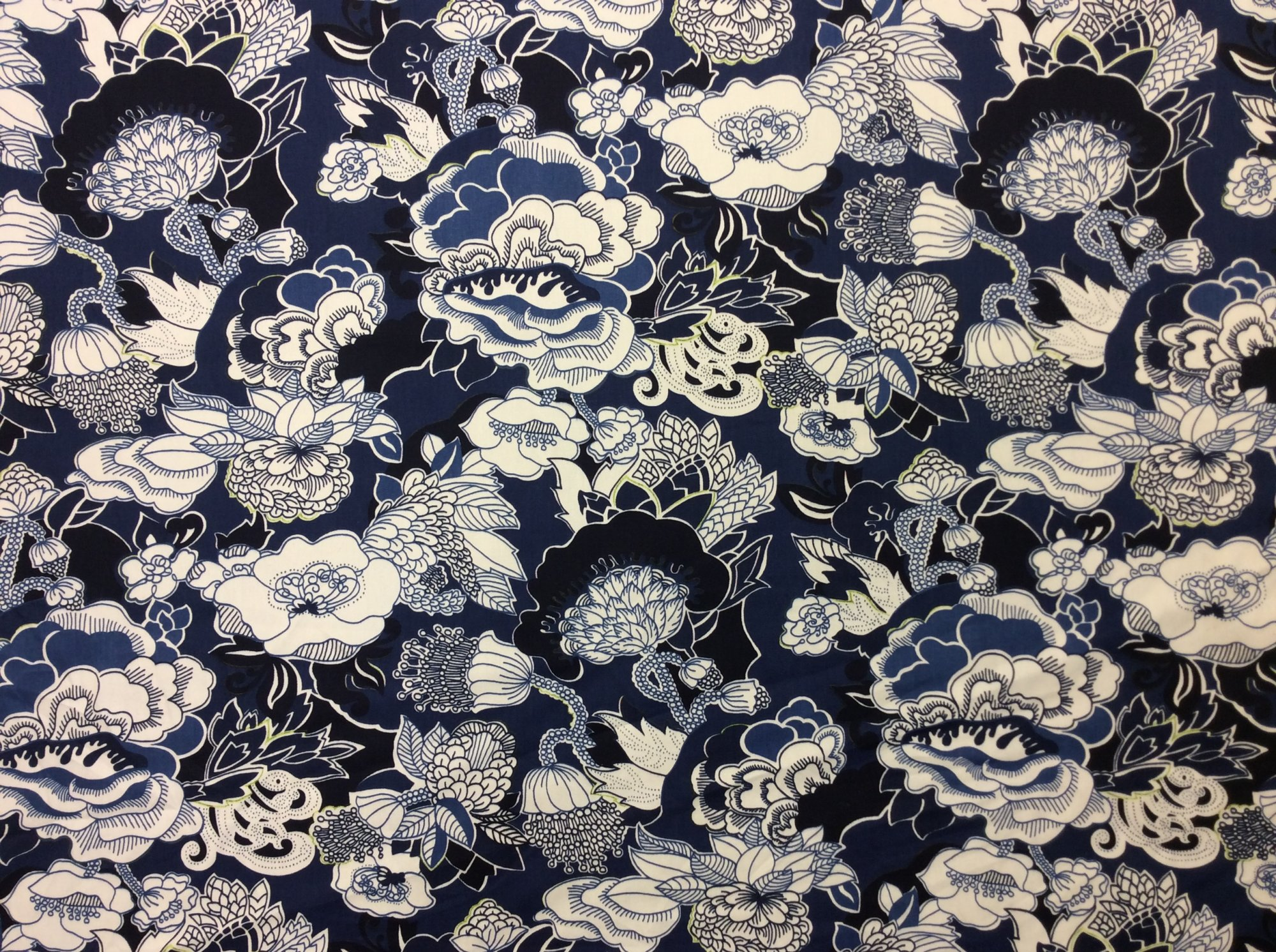 Duralee Kiji Toile Contemporary Floral Cotton Twill Navy Bright Blue Home Dec Fabric OR105