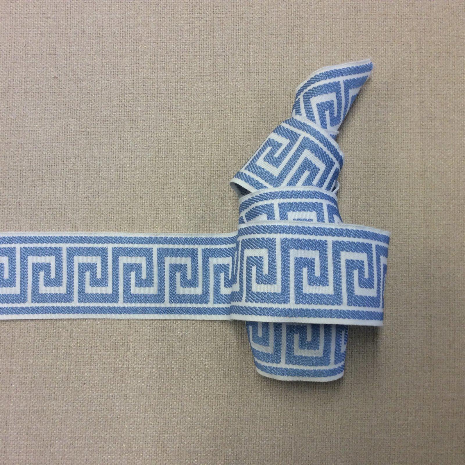Greek Key Woven Drapery Upholstery Tape Home Dec Trim Sky Blue Ribbon EPGK01
