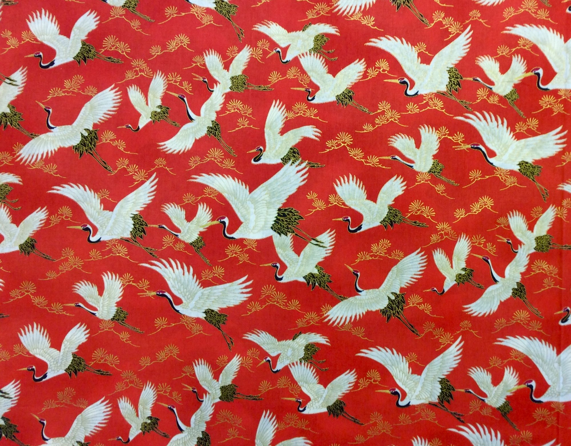 Japanese Asian Cranes Water Birds Obi Print Cotton Quilt Fabric NT89