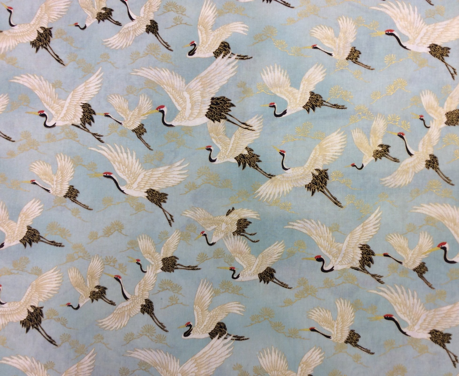 Japanese Asian Cranes Water Birds Obi Print Cotton Quilt Fabric NT91