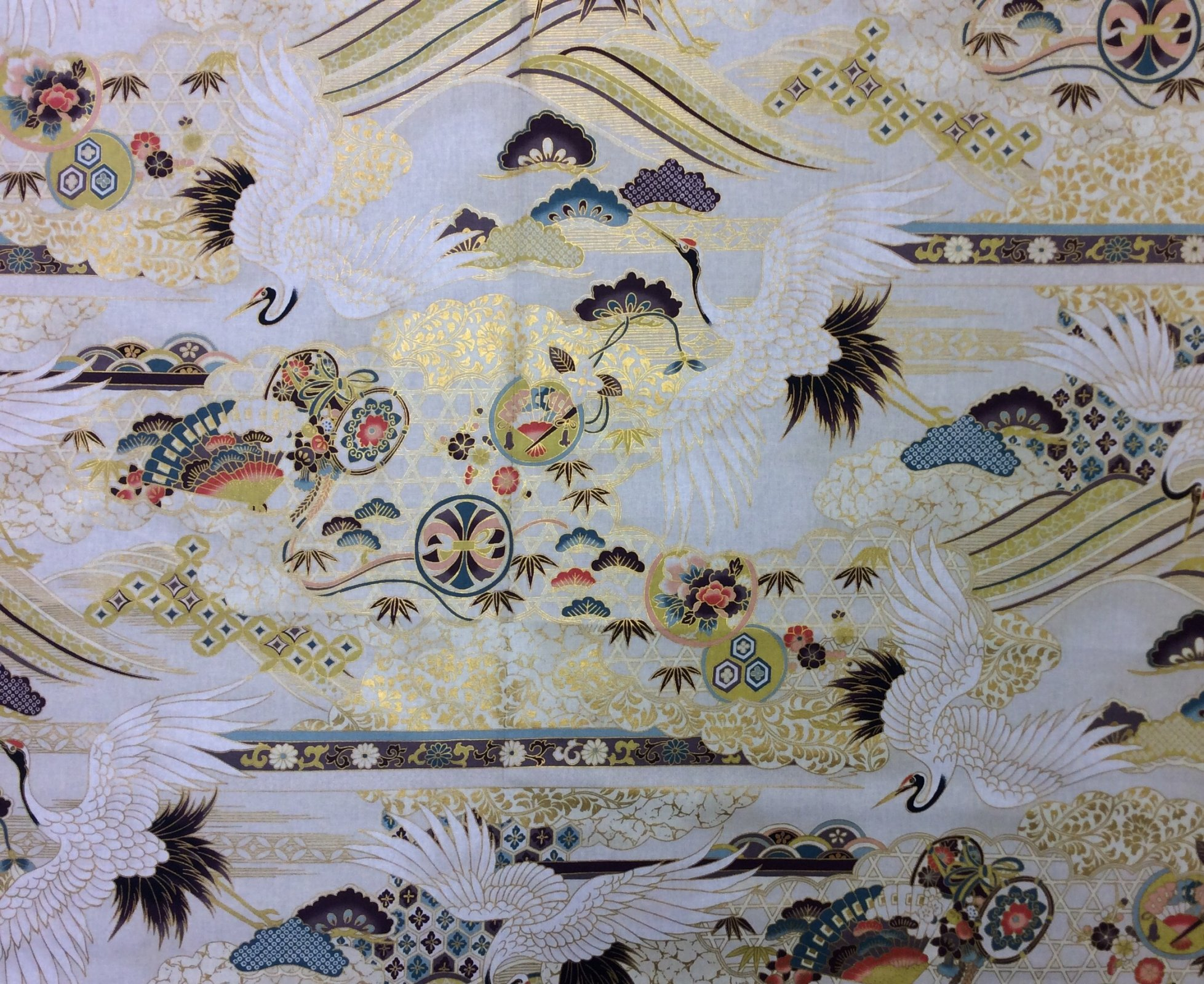 Japanese Asian Cranes Water Birds Obi Print Cotton Quilt Fabric NT88