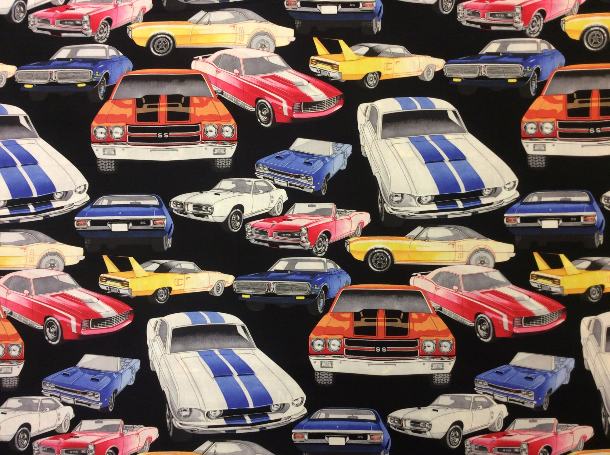 Muscle Car Retro GM Pontiac GTO GOAT Chevy Super Sport Cotton Quilt Fabric AH316