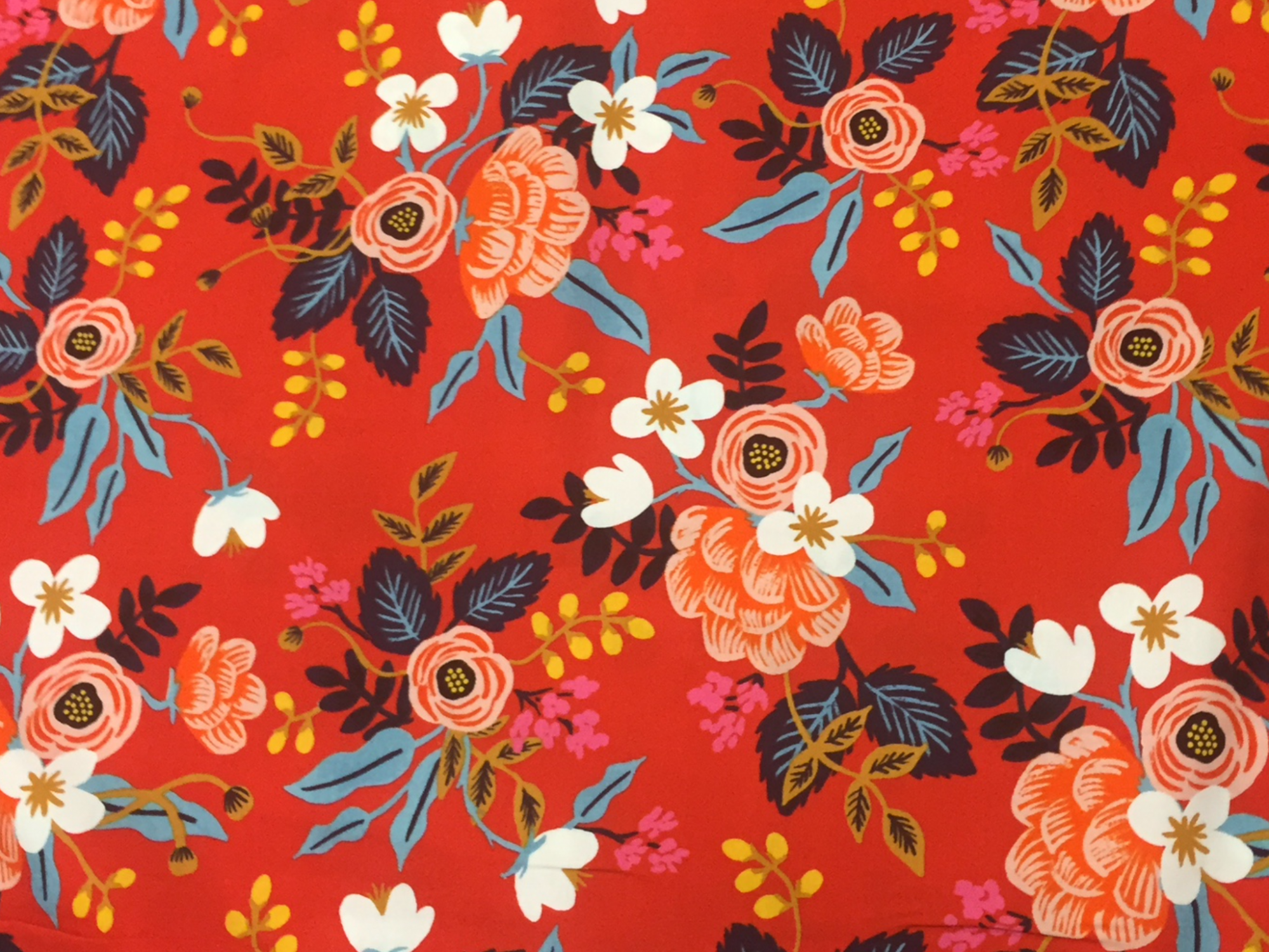 BACKORDERED Cotton + Steel Rifle Paper Company Les Fleurs Floral Red Rayon Fabric