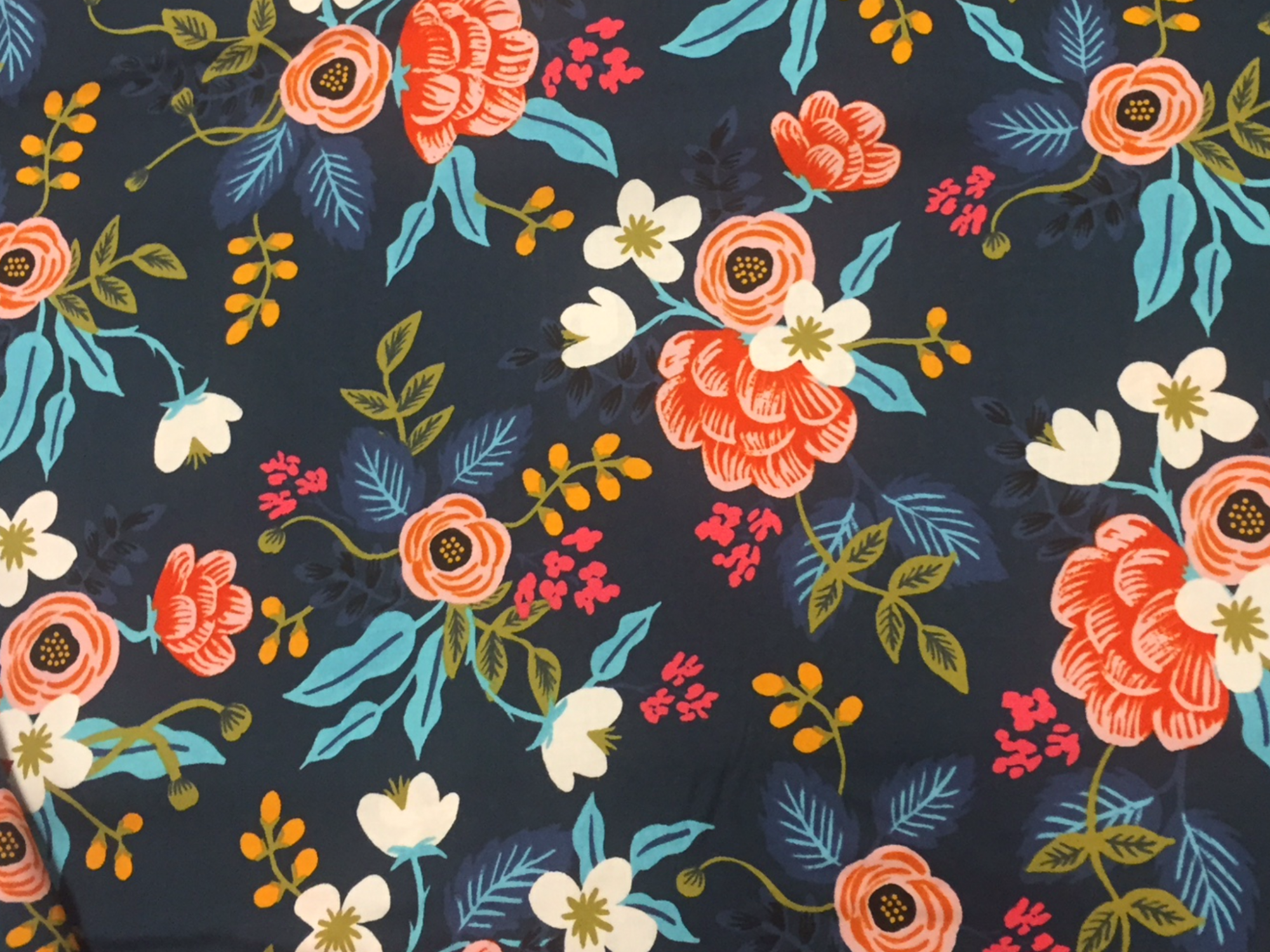 BACKORDERED Cotton + Steel Rifle Paper Company Les Fleurs Floral Navy Rayon Fabric