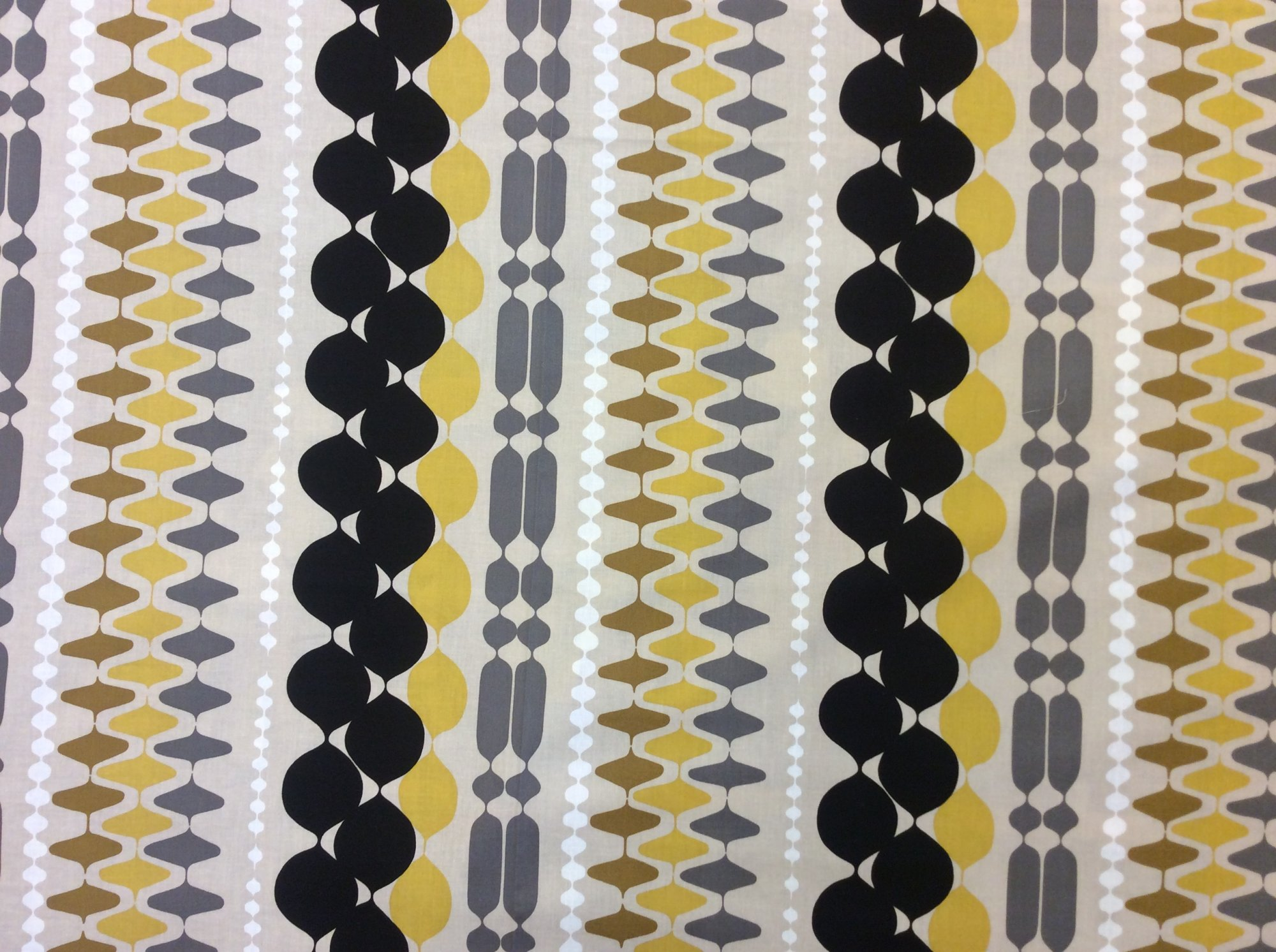 Ghastlie Bead Gold Retro Atomic Stripe Cotton Quilting Fabric AH313