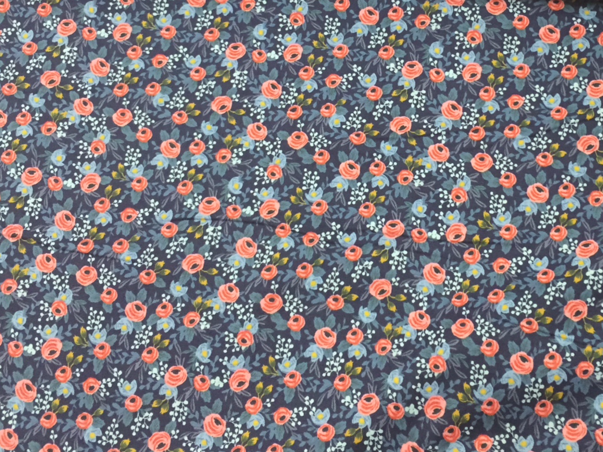 BACKORDERED Cotton + Steel Rifle Paper Company Rosa Navy  Fabric
