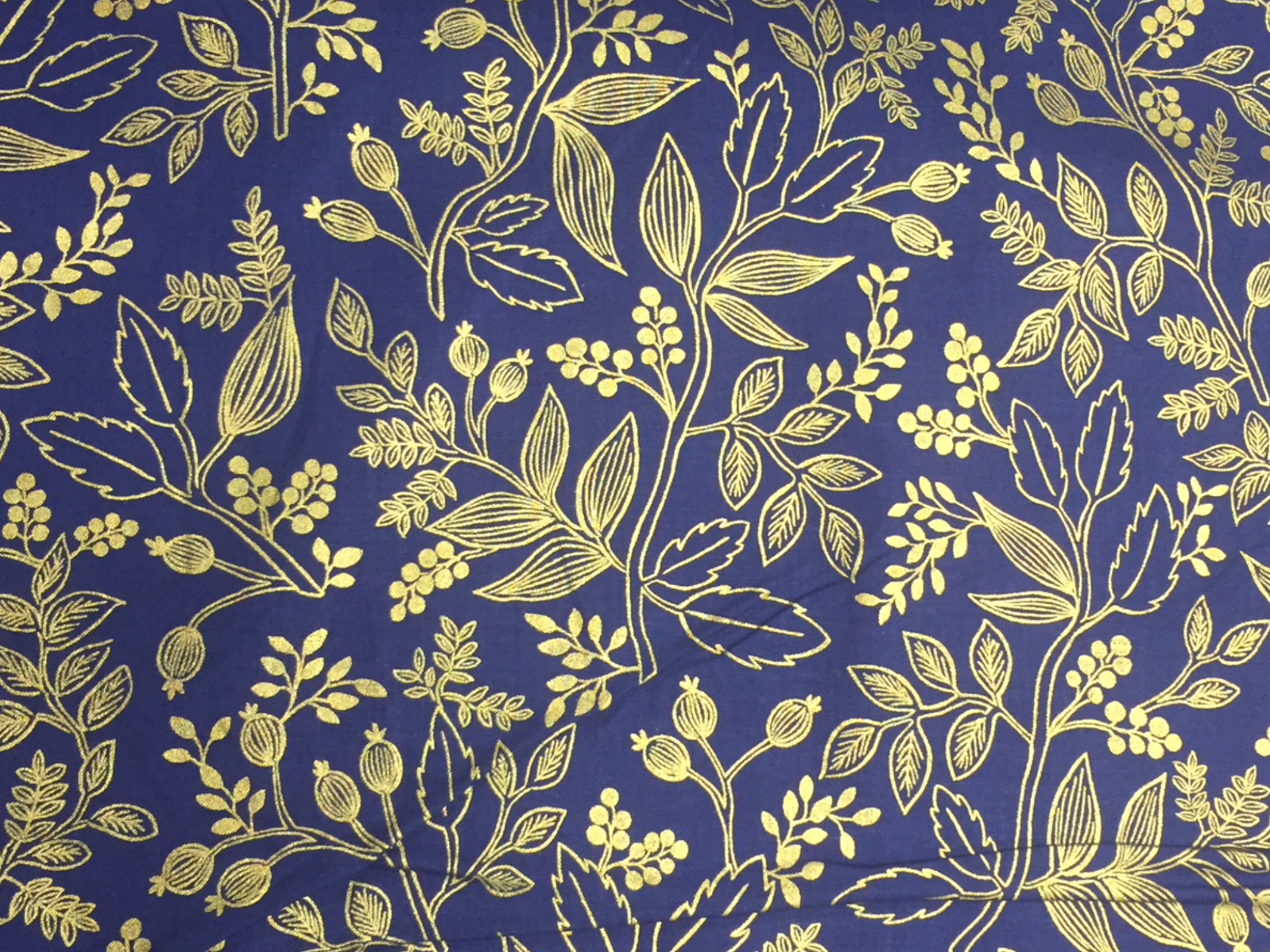 BACKORDERED Cotton + Steel Rifle Paper Company Les Fleurs  Queen Anne Navy Cotton Fabric