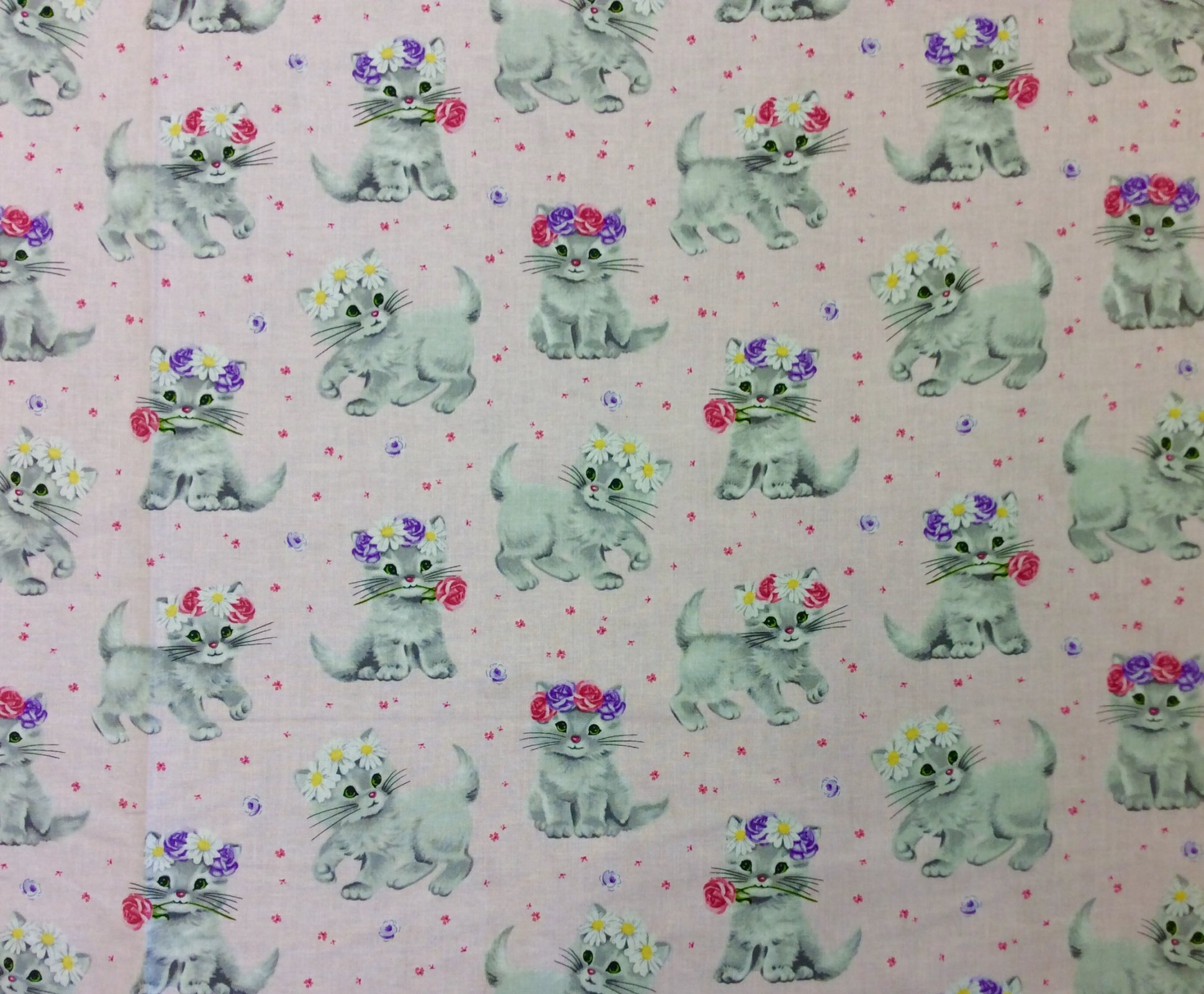Kitty Cat Kittens Rare Retro Vintage Style Cotton Quilting Fabric MM134