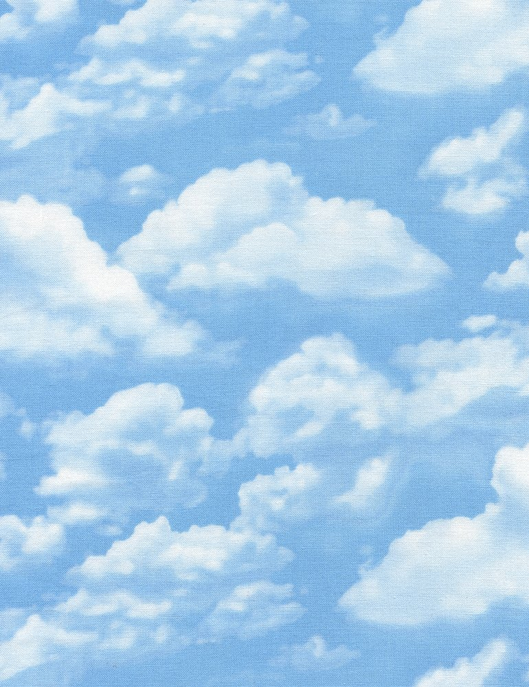 Clouds Fluffy  Blue Sky Cool Summer Breeze Fun Cotton Quilting Fabric FT34