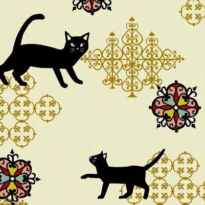 Neko Kitty Cat Japanese Asian Cotton Quilt Fabric QG21