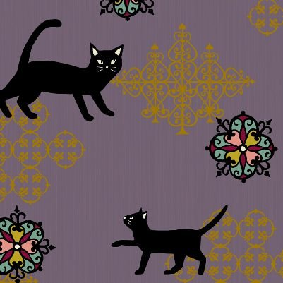 Neko Kitty Cat Japanese Asian Cotton Quilt Fabric QG19