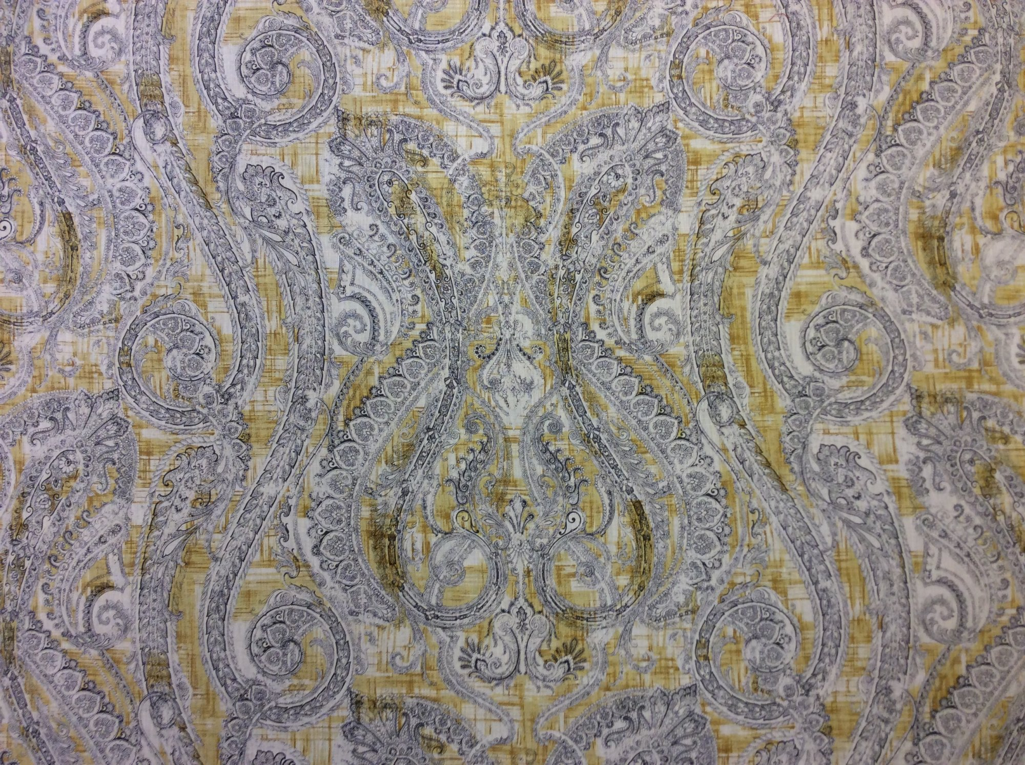 Clarence House Carmen Paisley Yellow Made in Italy 100% Linen Home Decor Fabric. CLA1011