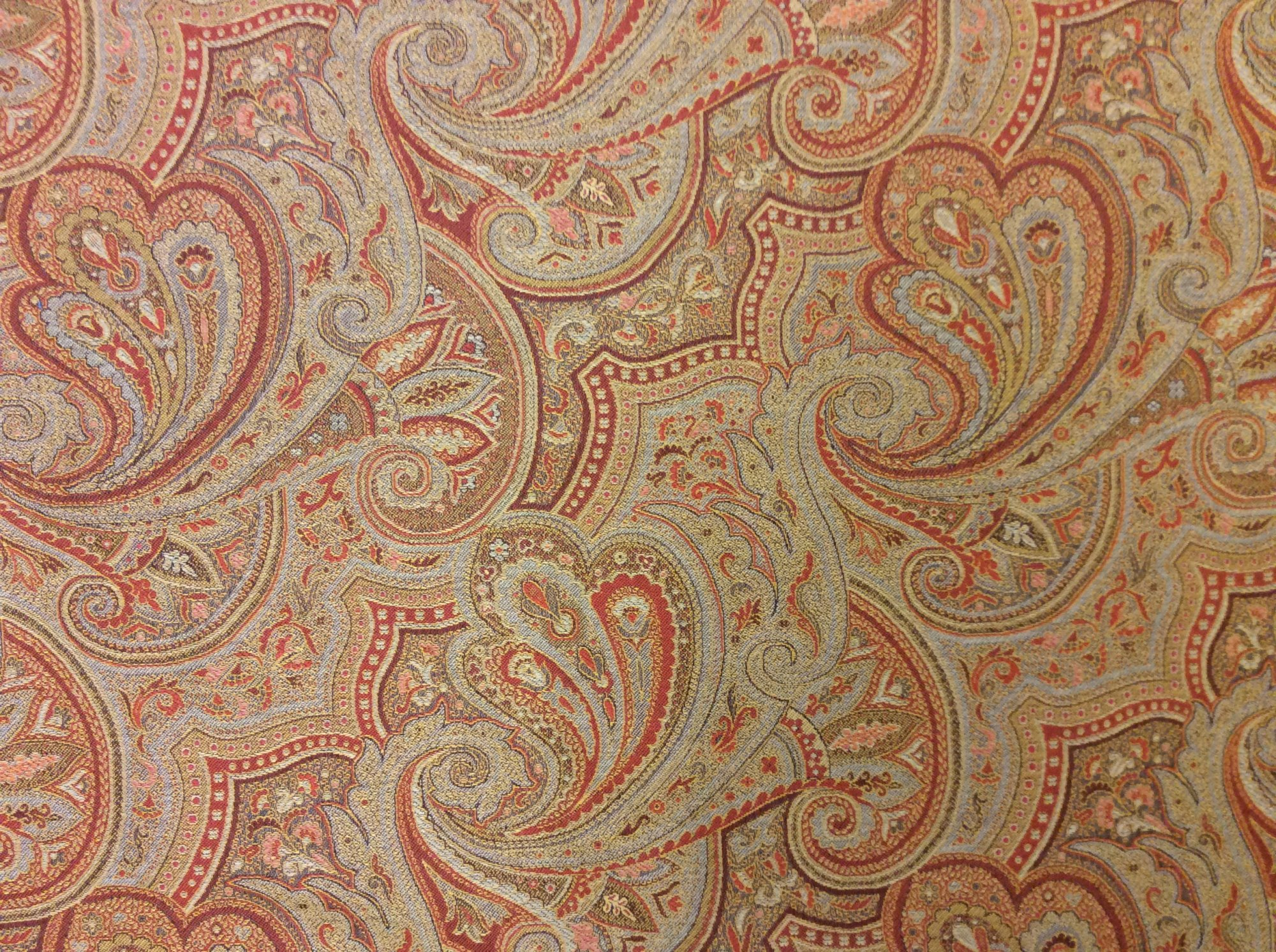 Clarence House Antique Paisley Terra Cotta Wool Blend Made in Italy Upholstery Home Decor Fabric CLA1012