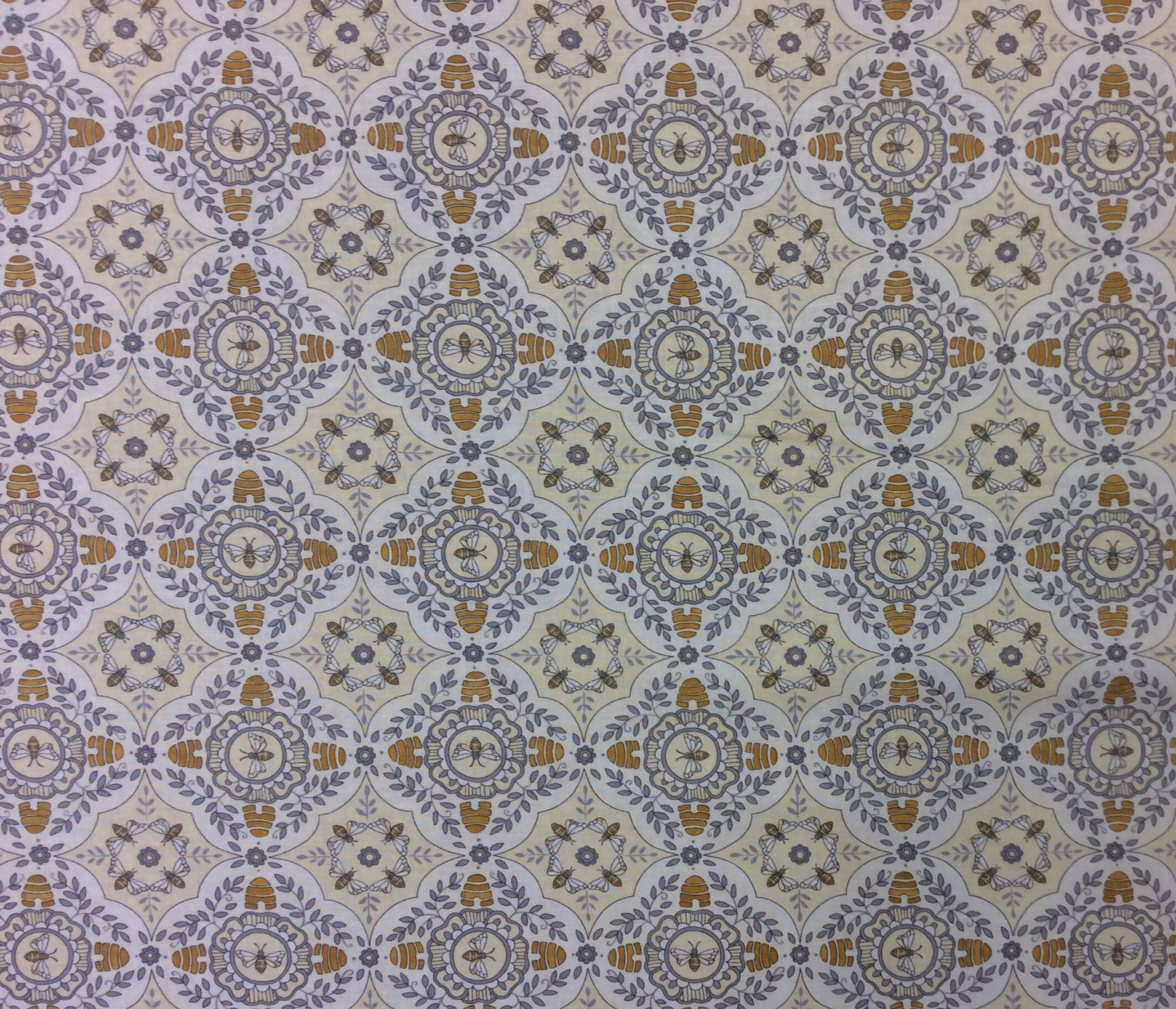 Bee French Country Honey Bee Hive Cotton Quilting Fabric