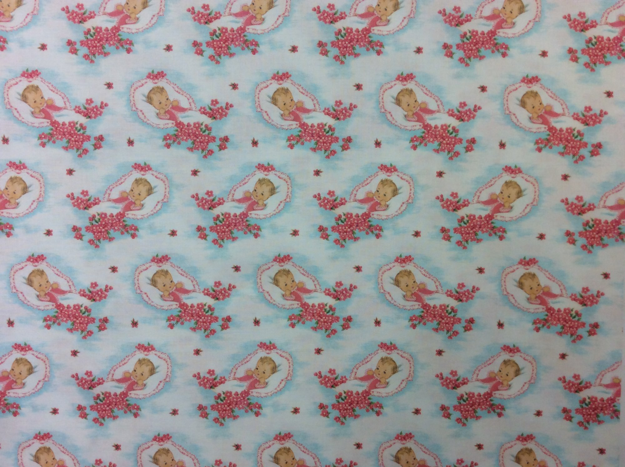 Newborn Baby Retro Wrapping Paper Baby Shower Style Cotton Quilt Fabric NT96