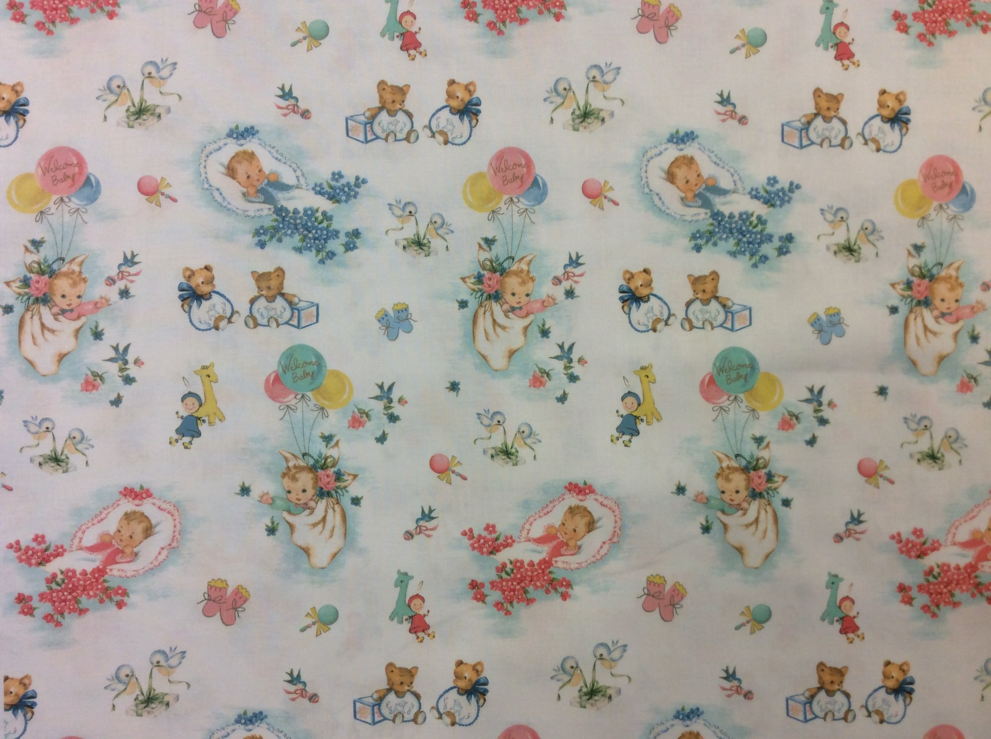 Newborn Baby Retro Wrapping Paper Baby Shower Style Cotton Quilt Fabric NT95