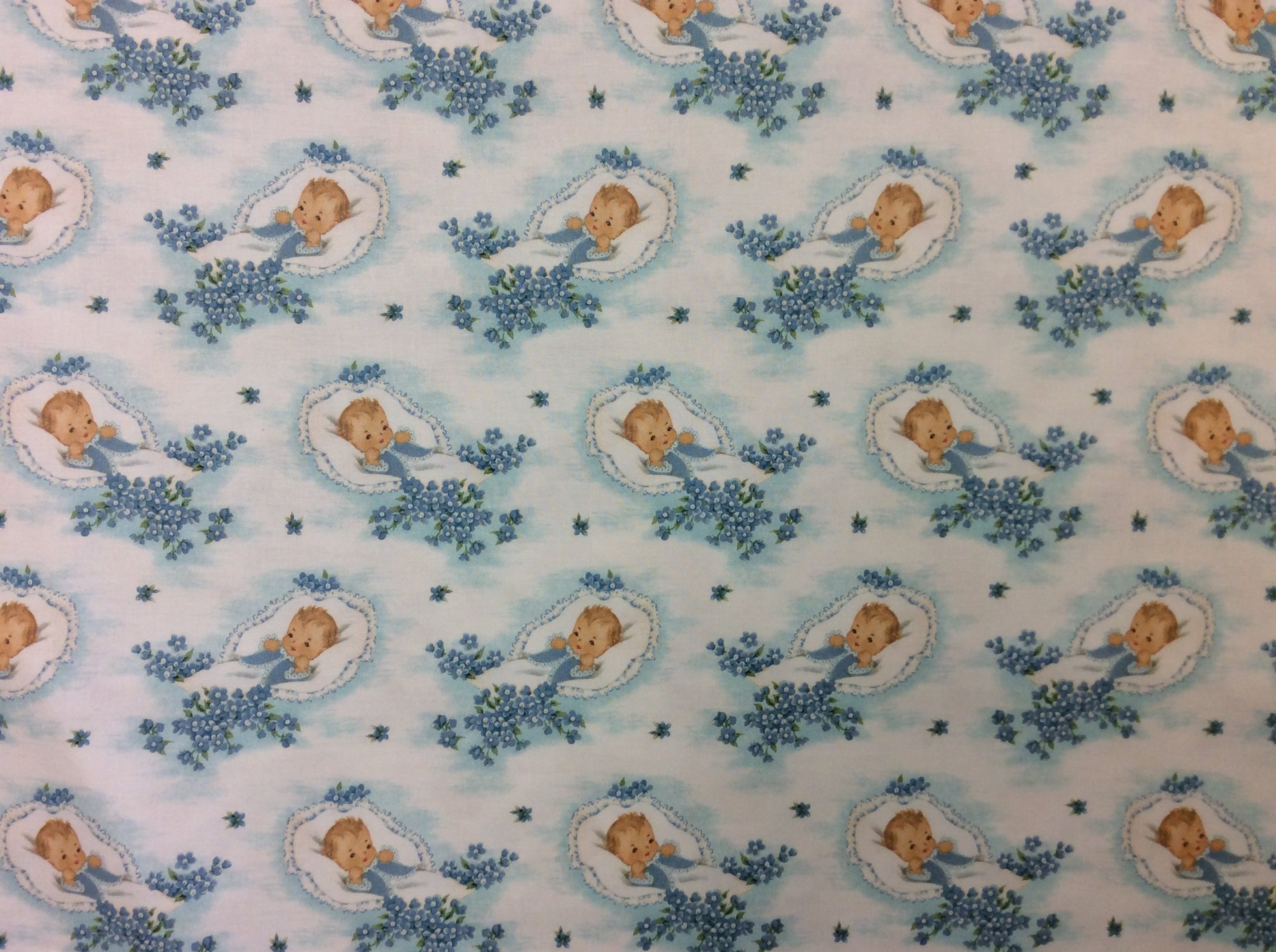 Newborn Baby Retro Wrapping Paper Baby Shower Style Cotton Quilt Fabric NT92