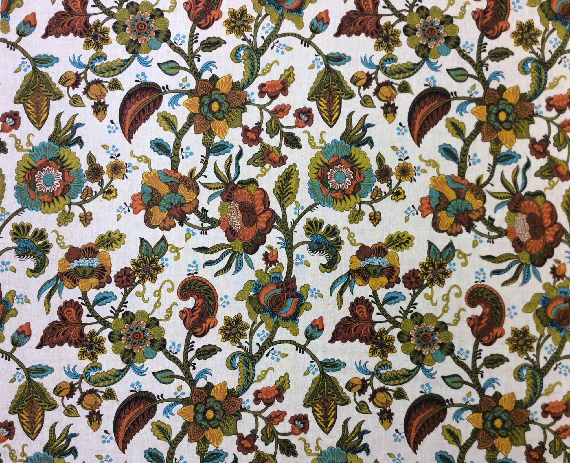 RARE! True Vintage Linen Univtex Retro Floral Vine Kitschy Screen Printed Linen Mid Century Home Decor Fabric TRV001