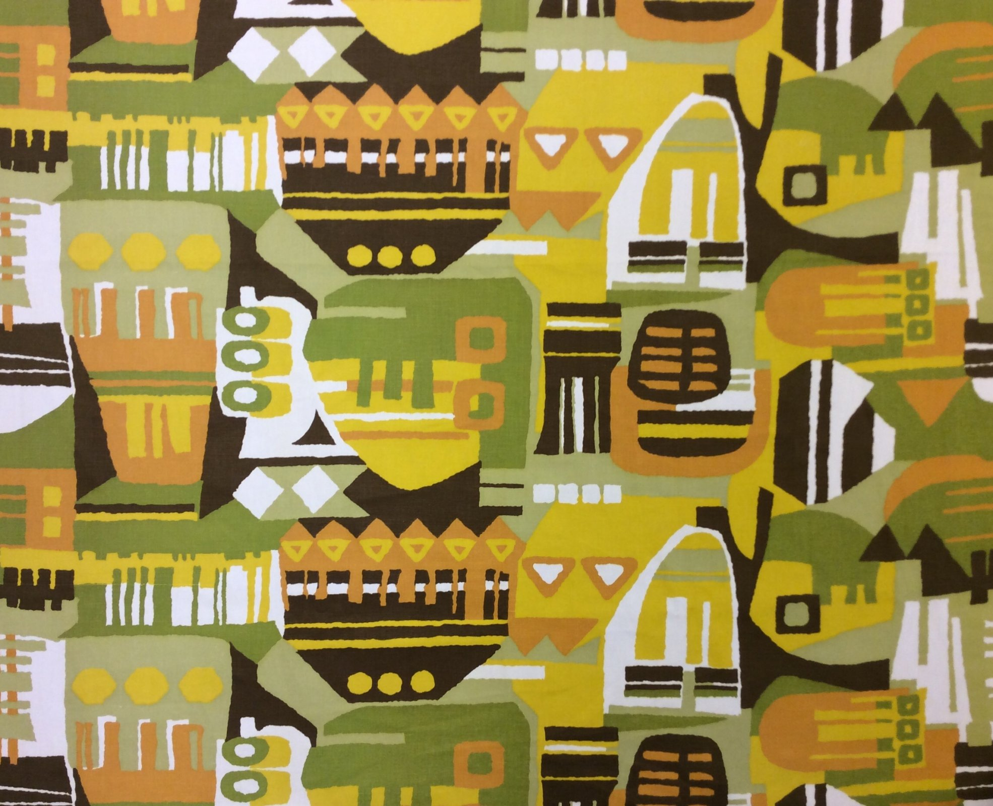 RARE! True Vintage Graphic Retro Abstract Kitschy Screen Printed Cotton Mid Century Home Decor Fabric TRV002