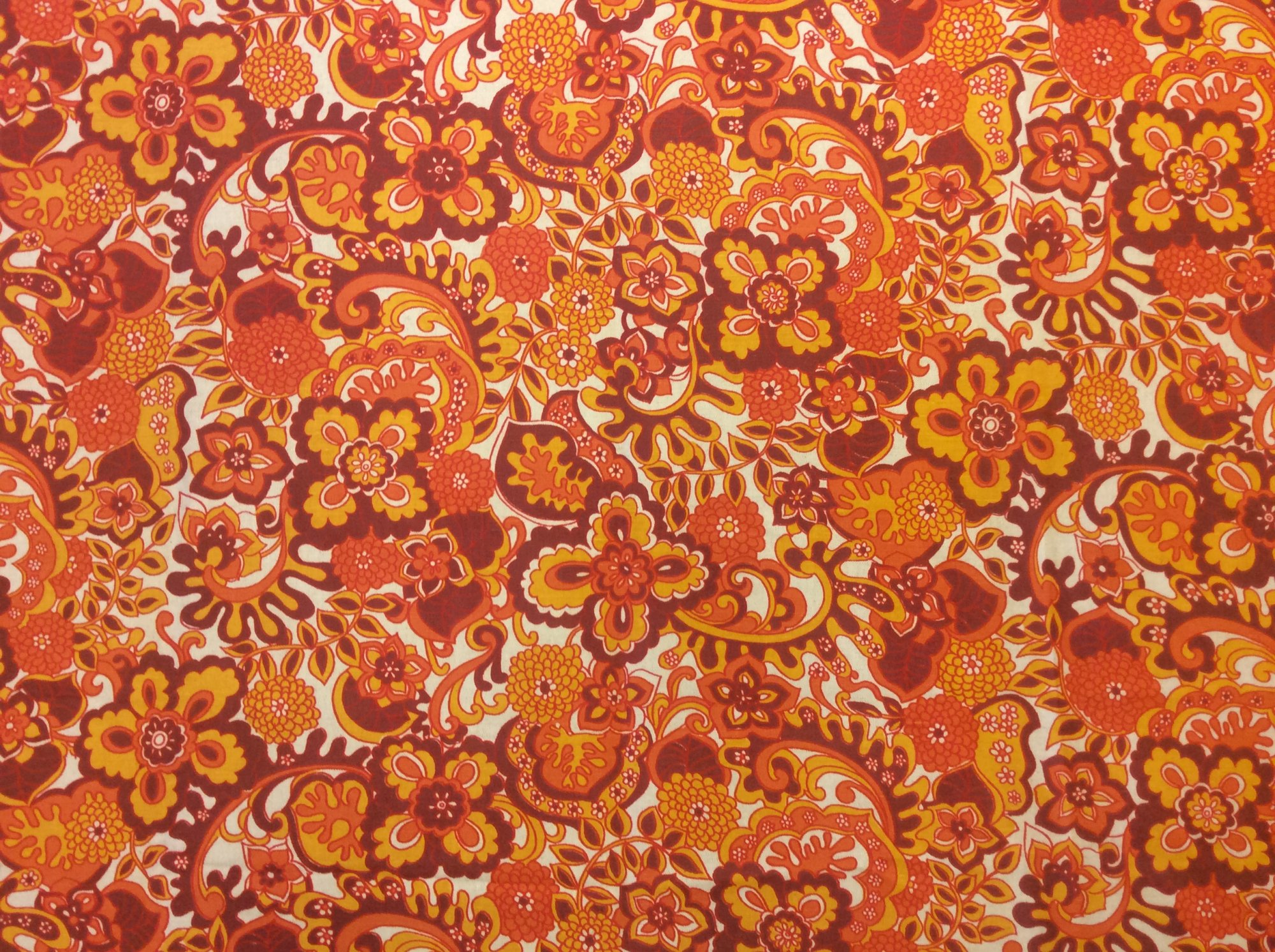 RARE! True Vintage Retro Groovy Floral Print Kitschy Screen Printed Cotton Home Decor Fabric TRV004