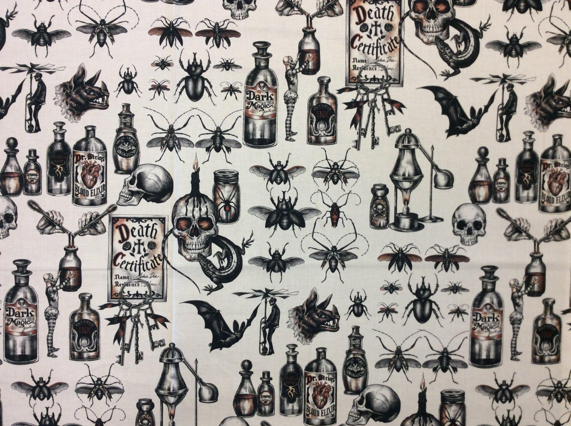 Alexander Henry Dark Magic Bug Beetle Halloween Spooky Quilting Cotton Fabric AH319