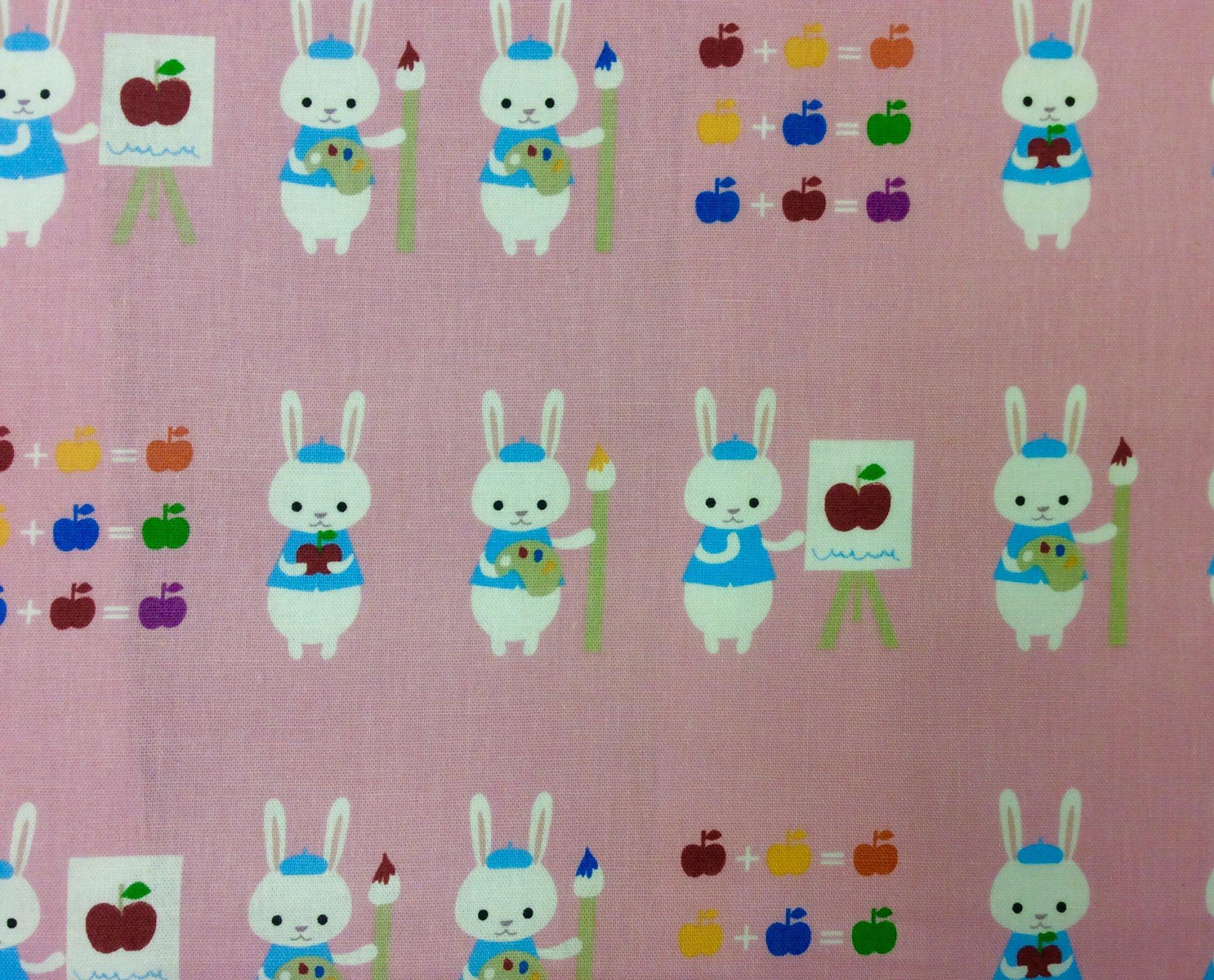 SVI02 Made in Japan Lightweight Canvas Fabric Cute Bunny Putidepome Pink Rabbit Artist Apple Fabric
