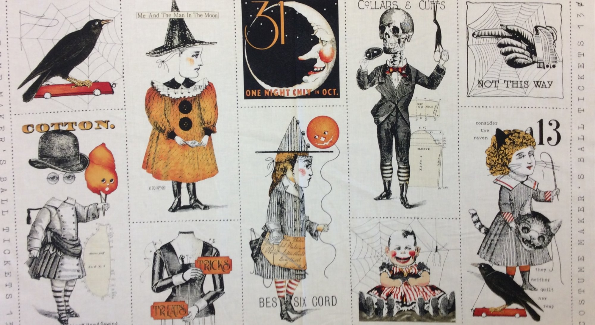 Costume Makers Halloween Panel Spooky Vintage Inspired Retro October Quilting Cotton Fabric Panel CHE032