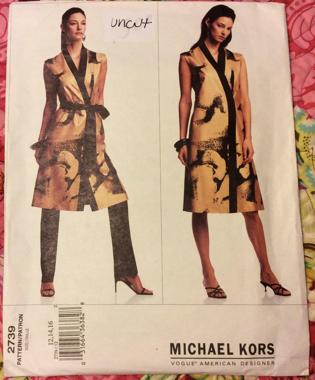 VINTAGE VOGUE American Designer MICHAEL KORS SEWING PATTERN 2739 Size 12 14 16 UNCUT VSB19