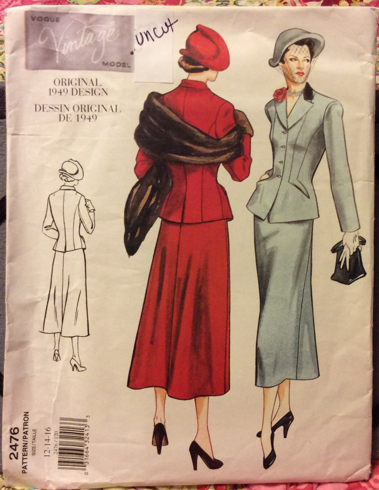 VINTAGE VOGUE #2476 VINTAGE Model Original 1949 Design Classic Suit Jacket and Skirt SEWING PATTERN Size 12 14 16 UNCUT VSB19