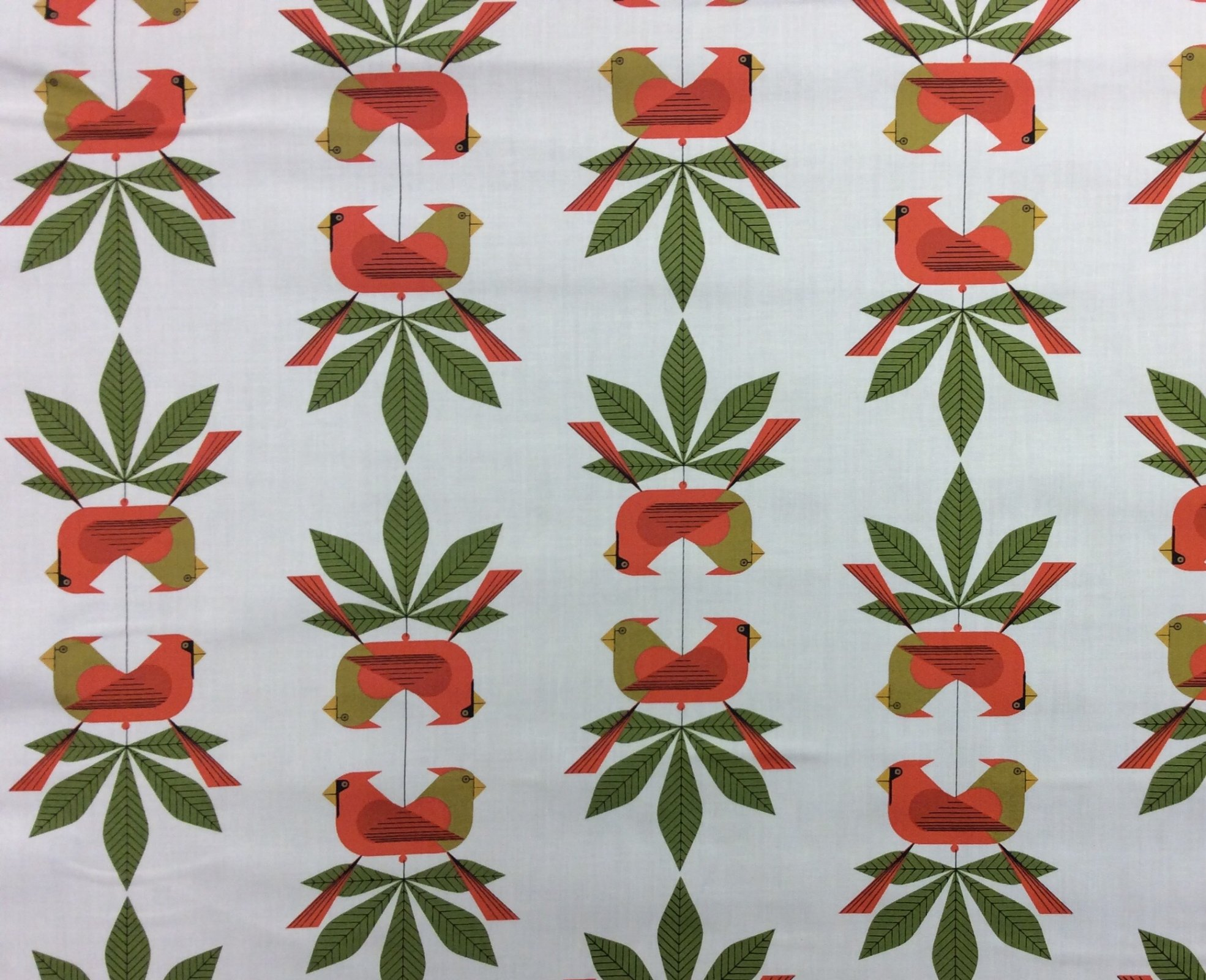 Charley Harper Holiday Cardinal Consort Organic Cotton Mid Century Holiday Bird Cotton Quilting Fabric CHB94