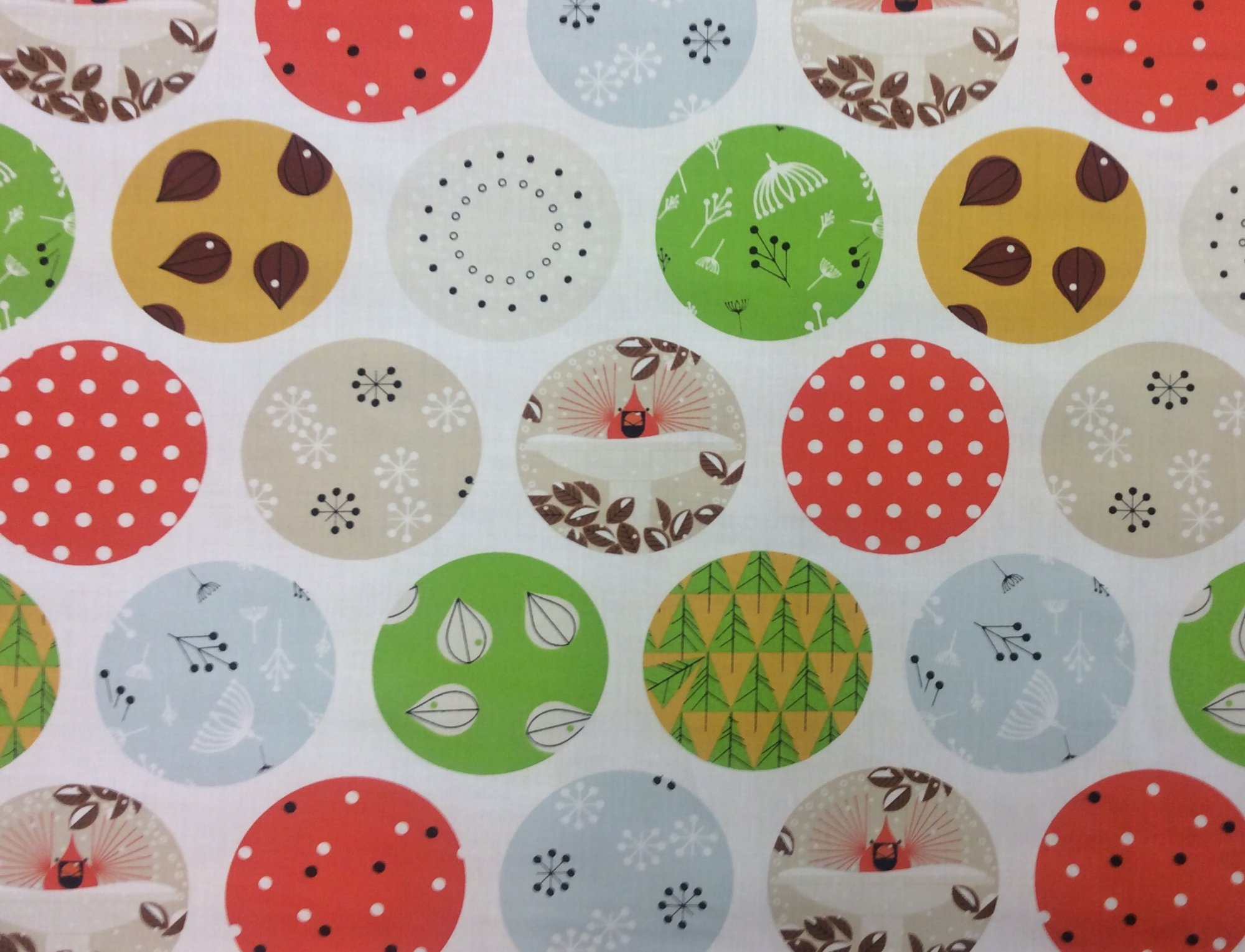 Charley Harper Holiday Ornaments Organic Cotton Mid Century Winter Holiday Cotton Quilting Fabric CHB95