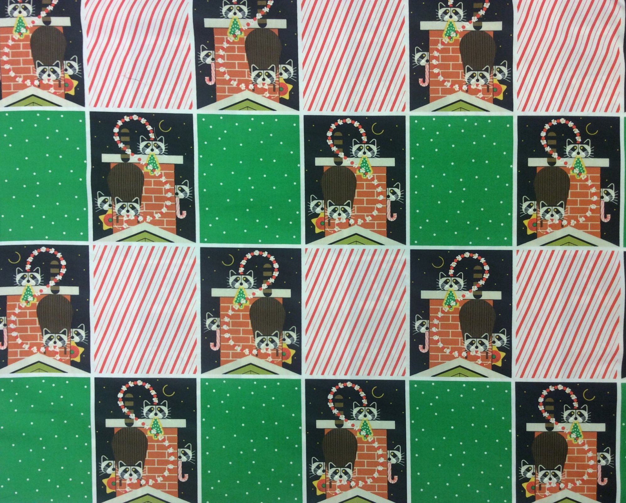 Charley Harper Holiday Chimney Capers Organic Cotton Mid Century Raccoon Winter Holiday Cotton Quilting Fabric CHB99