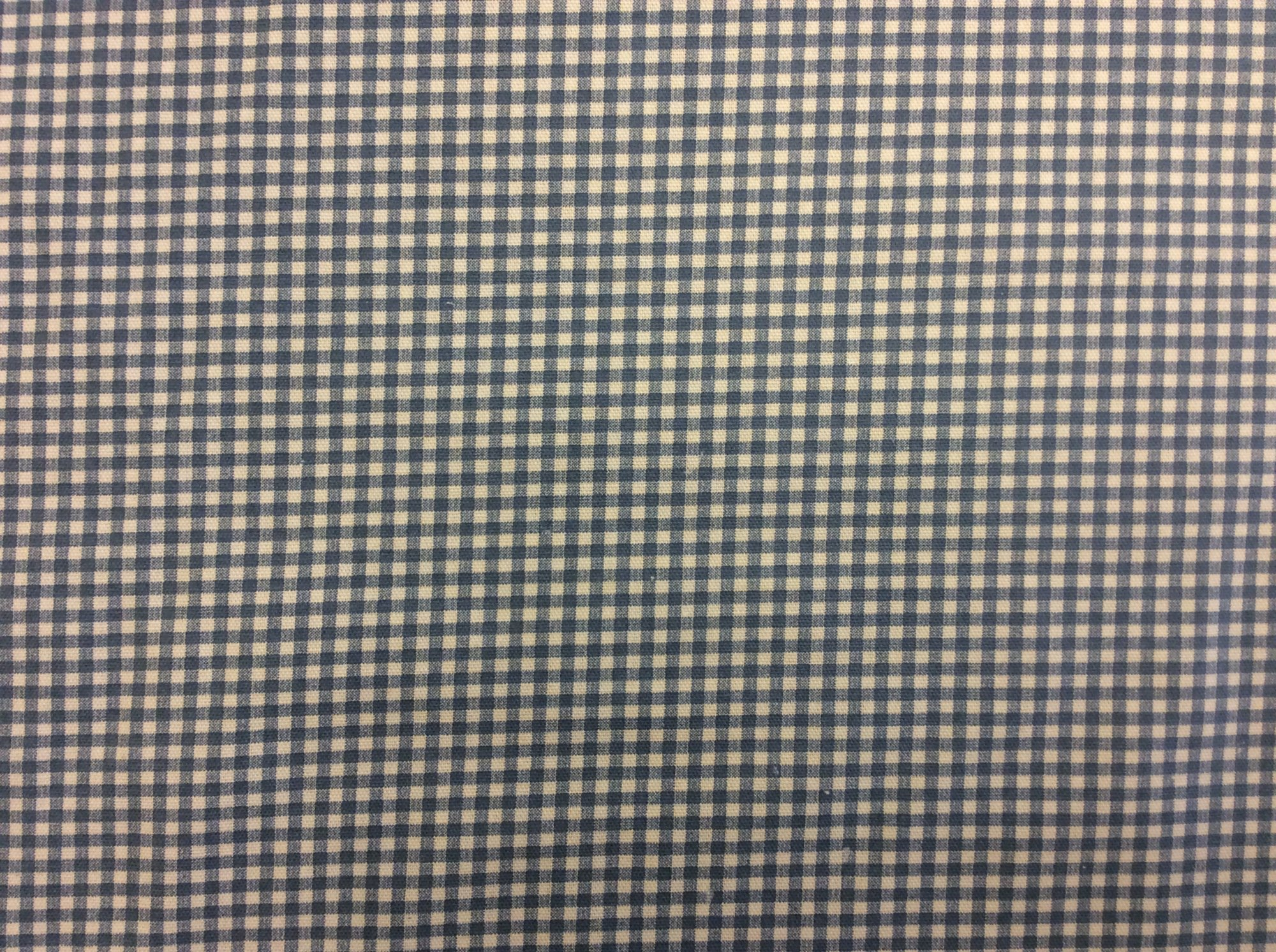 HD715 Classic Gingham Print Cotton Fabric Cheerful Check Blue and Ivory Heavy Weight Cotton Fabric