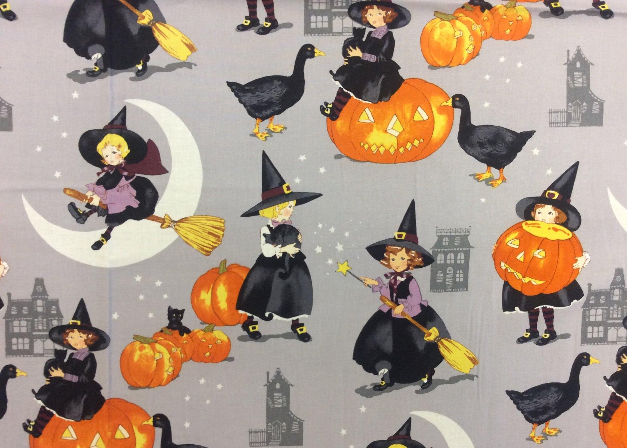 Alexander Henry Tabitha Retro Halloween Witch Cotton Quilt Fabric AH329