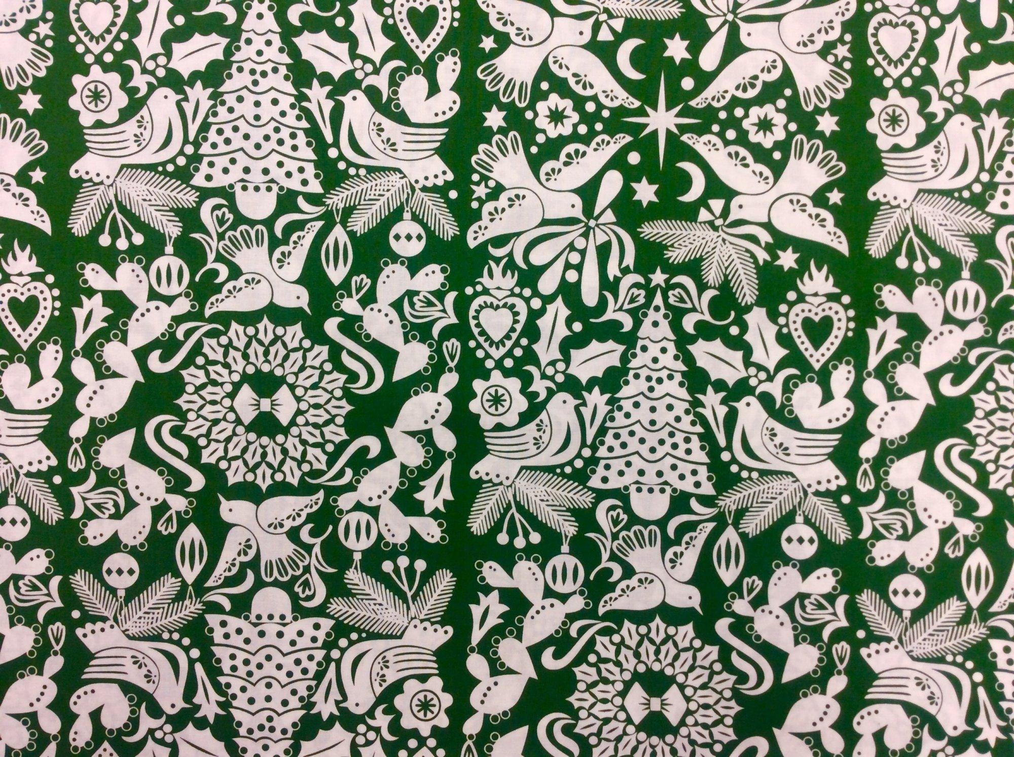 Alexander Henry Paloma Navidad Green Holiday Cotton Quilt Fabric AH328