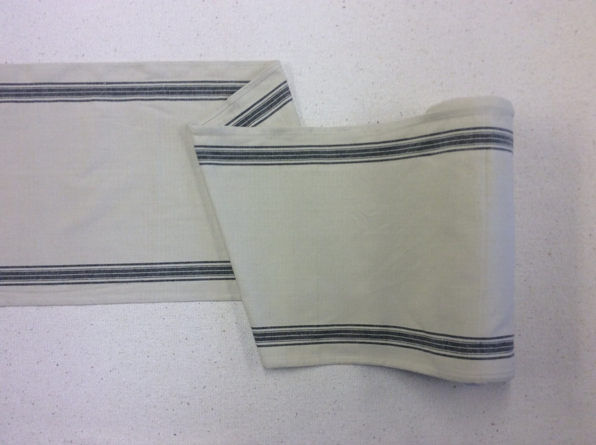 Toweling by the Yard Retro Homespun French Linen Style Cream Black Stripe Cotton Toweling MOT108