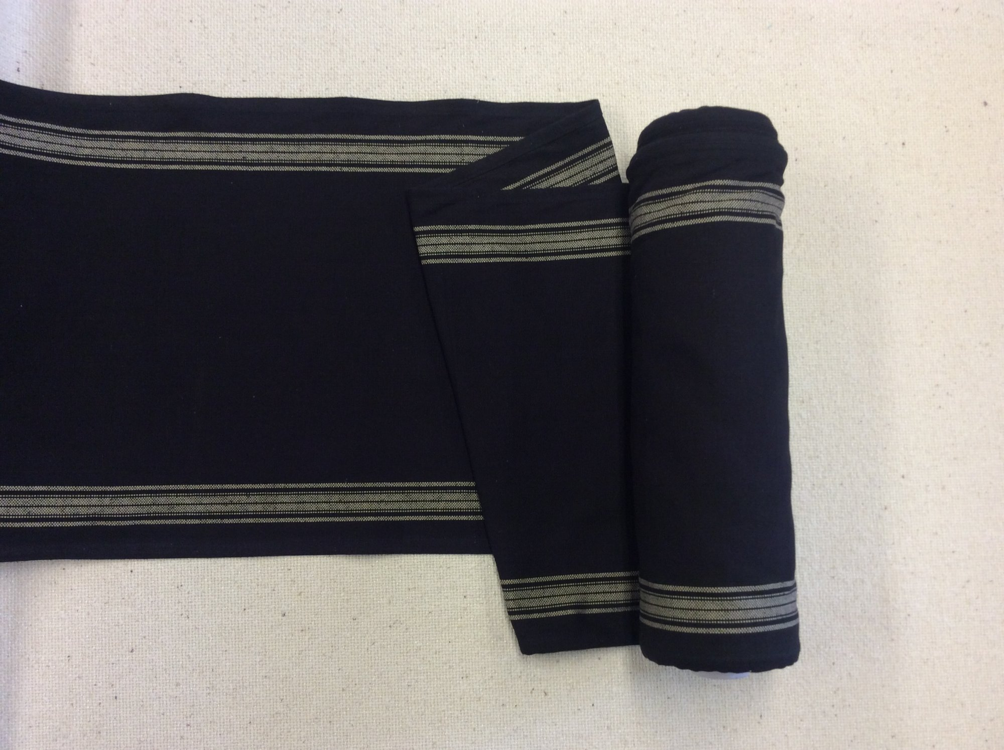 French Country Black Striped Ticking Cotton Toweling MOT122