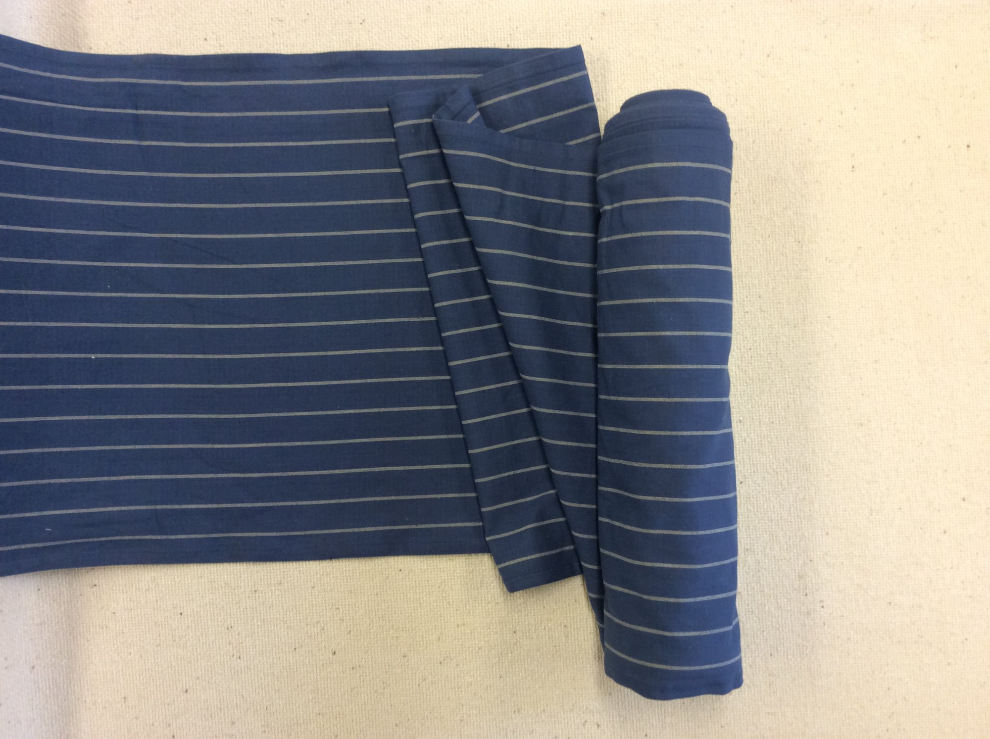 Blue Striped Cotton Toweling French Country Denim Blue Fabric MOT207