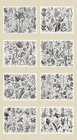 Encyclopedia Terrestria Digital Print Cotton Quilt Fabric Vintage Inspired Botanical Plant Panel AN63
