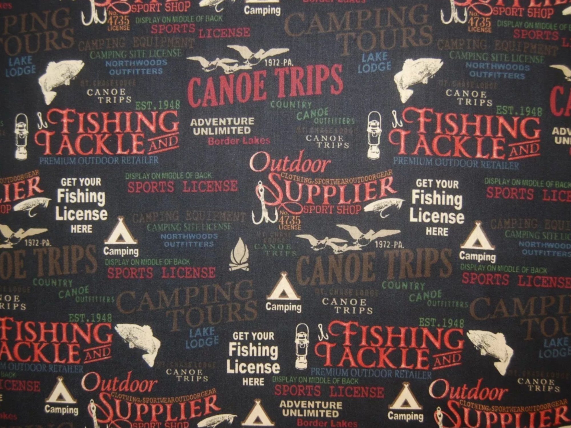 Outdoor Life Hunting Fishing Camping Cabin Print Cotton Quilt Fabric Wi30