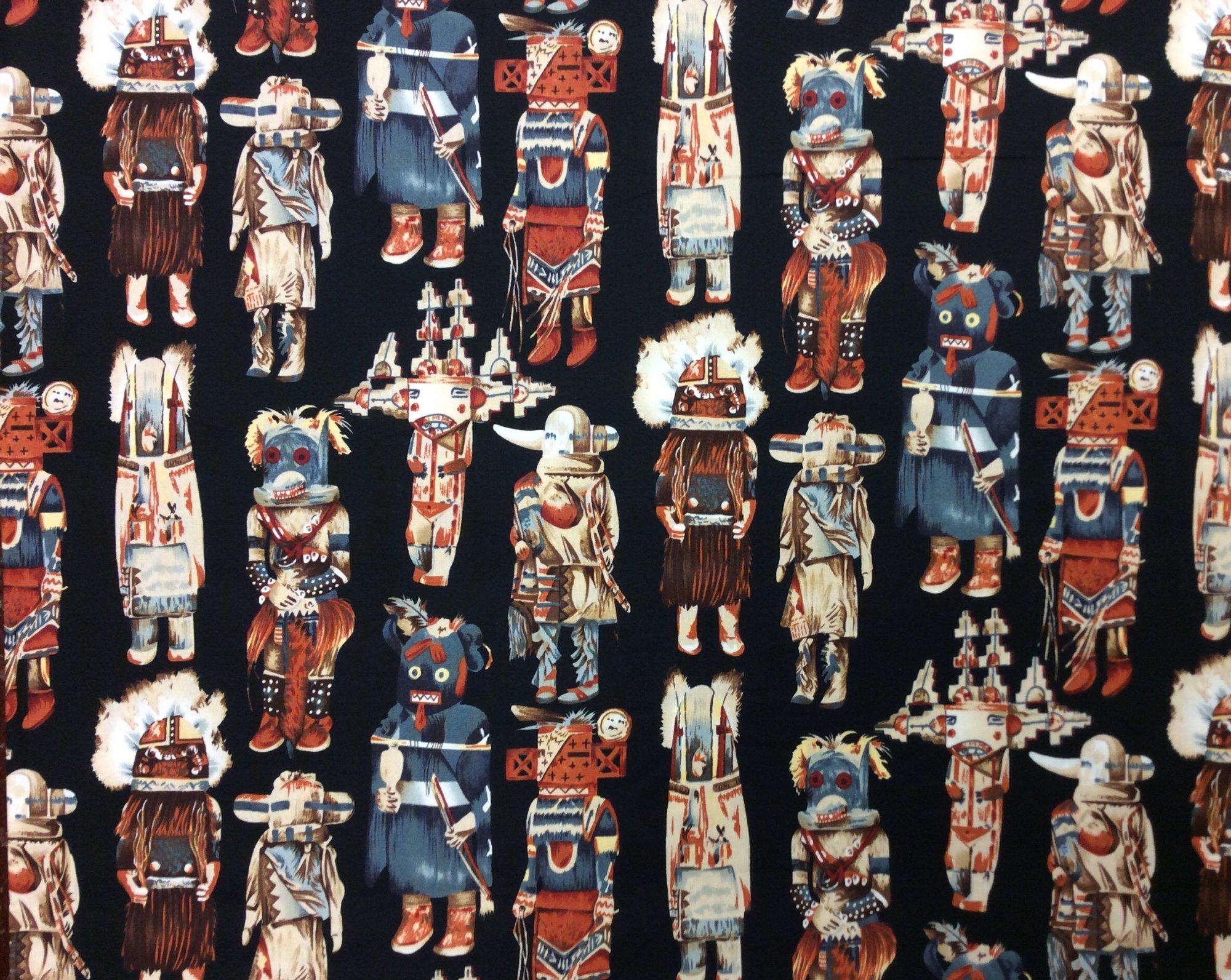 FAT QUARTER! Alexander Henry Desert Spirit Kachina Doll Cotton Quilting Fabric RPFCS410