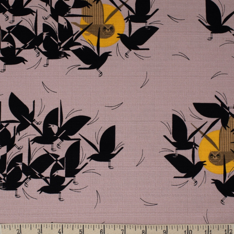 Charley Harper Barkcloth Owltercation Owl Bird Wide Organic Cotton Mid Century Cotton Home Dec Fabric CHB115