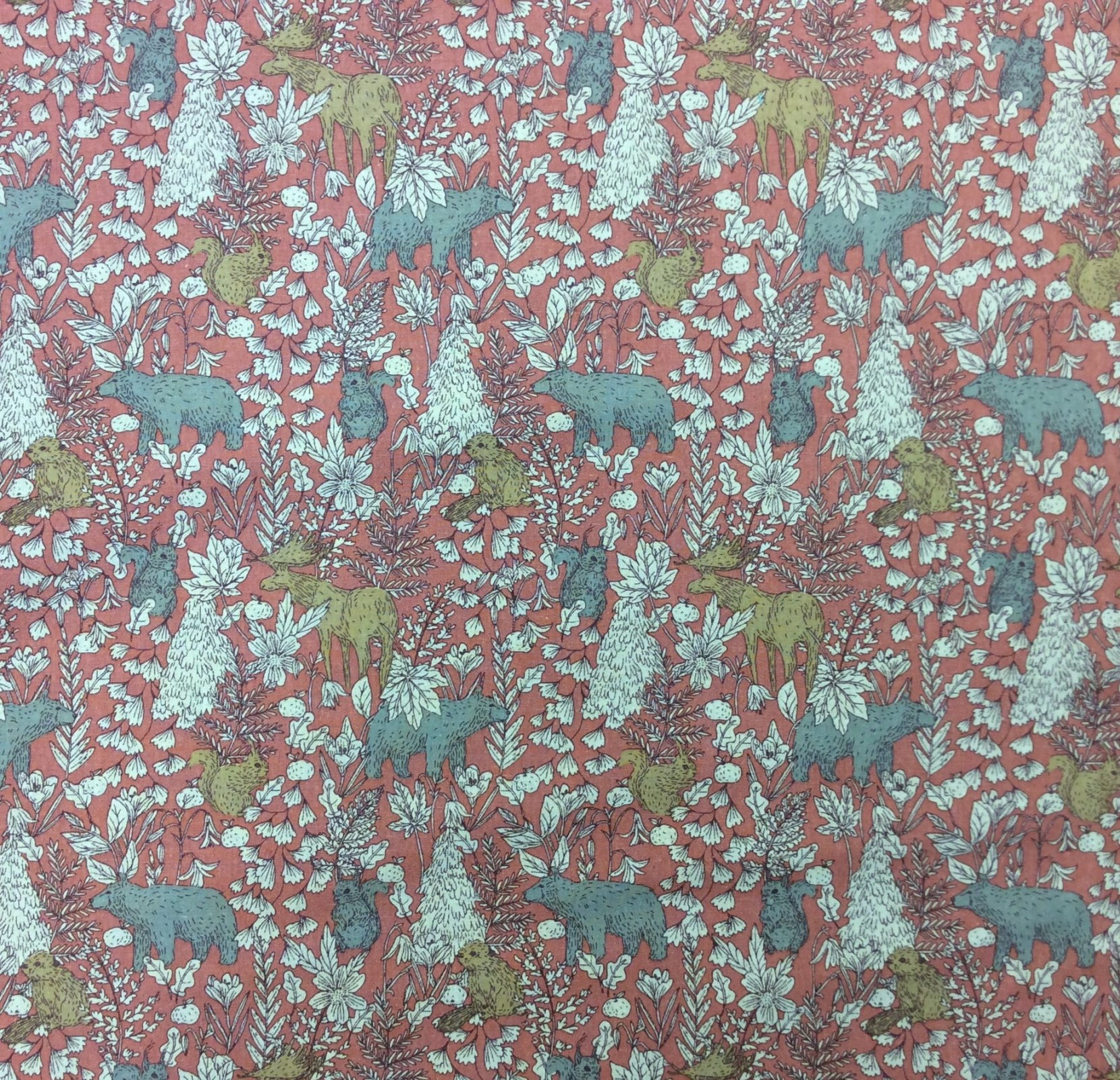 Forest Woodland Animal Vintage Look Bear Squirrel Moose Cotton Flax Fabric RK207