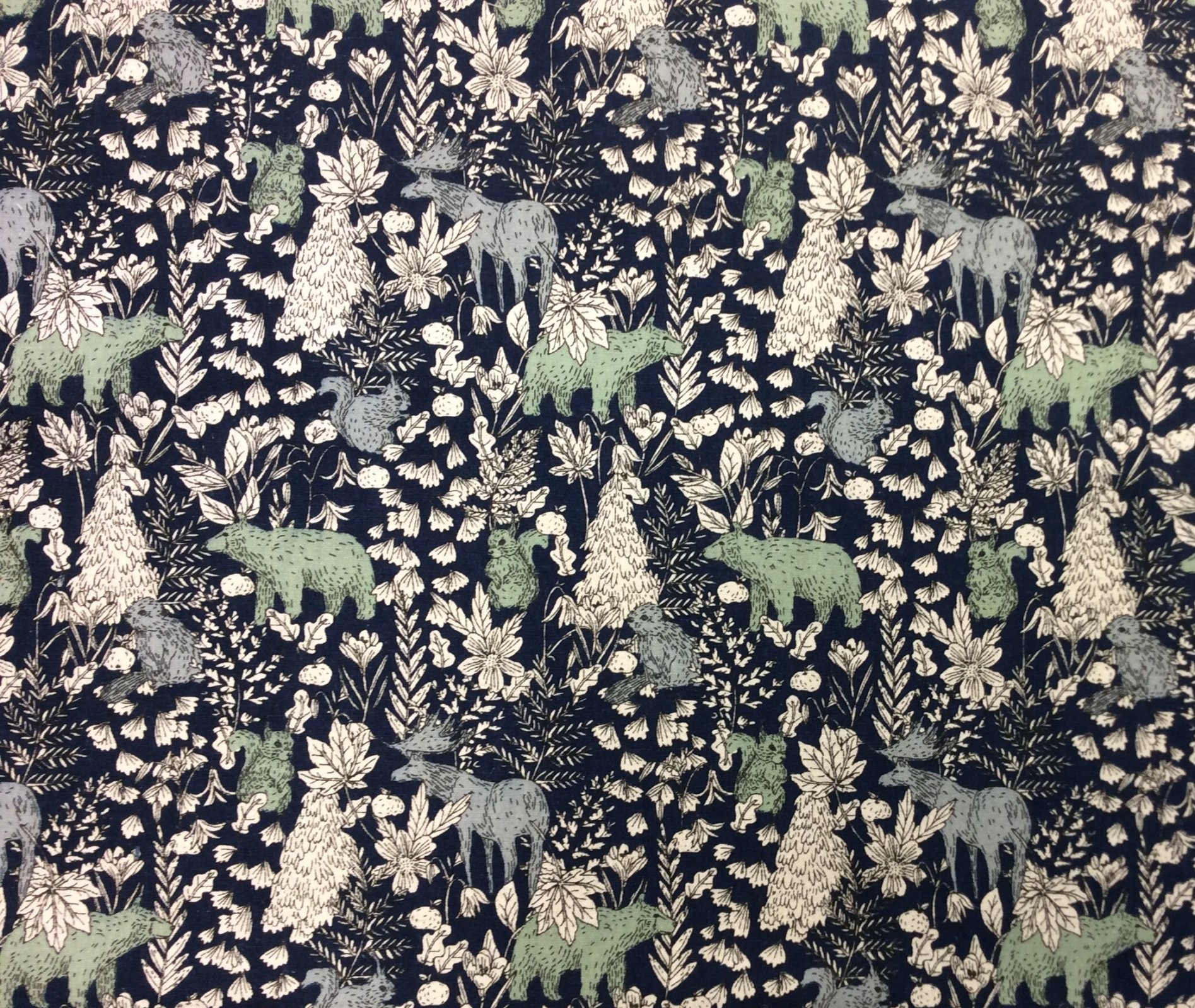 Forest Woodland Animal Vintage Look Bear Squirrel Moose Cotton Flax Fabric RK206