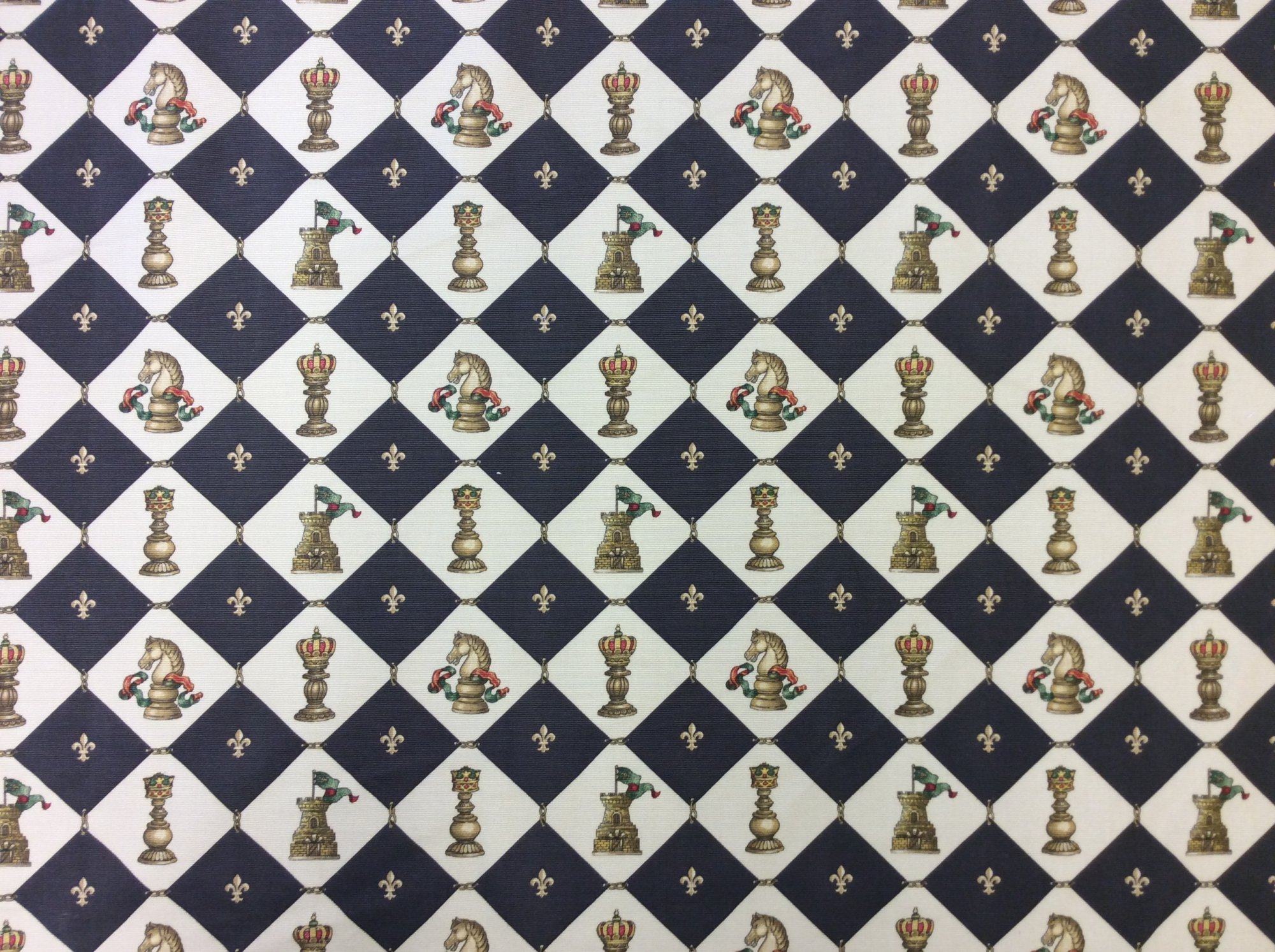 Chess Print Gameboard Ottoman Cotton Upholstery Home Decor Fabric 357OR